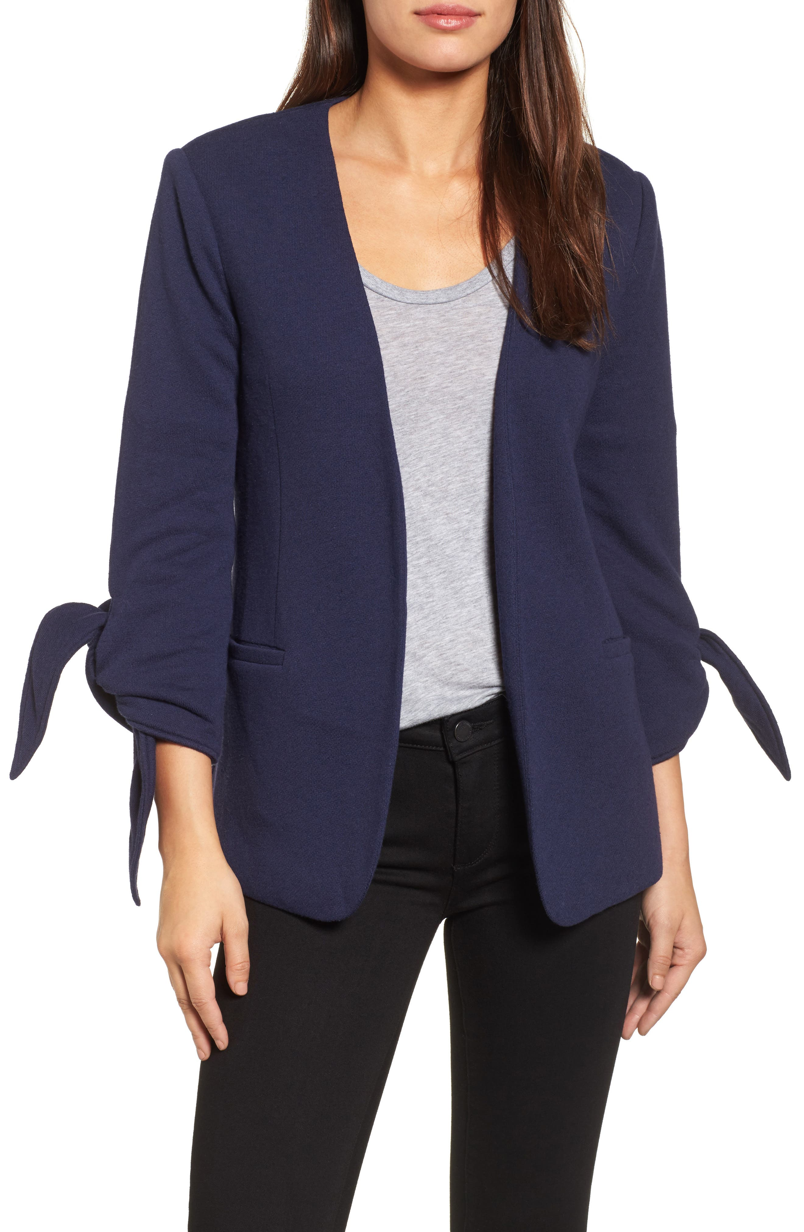 Olivia Moon Tie Sleeve Knit Blazer (Regular & Petite)