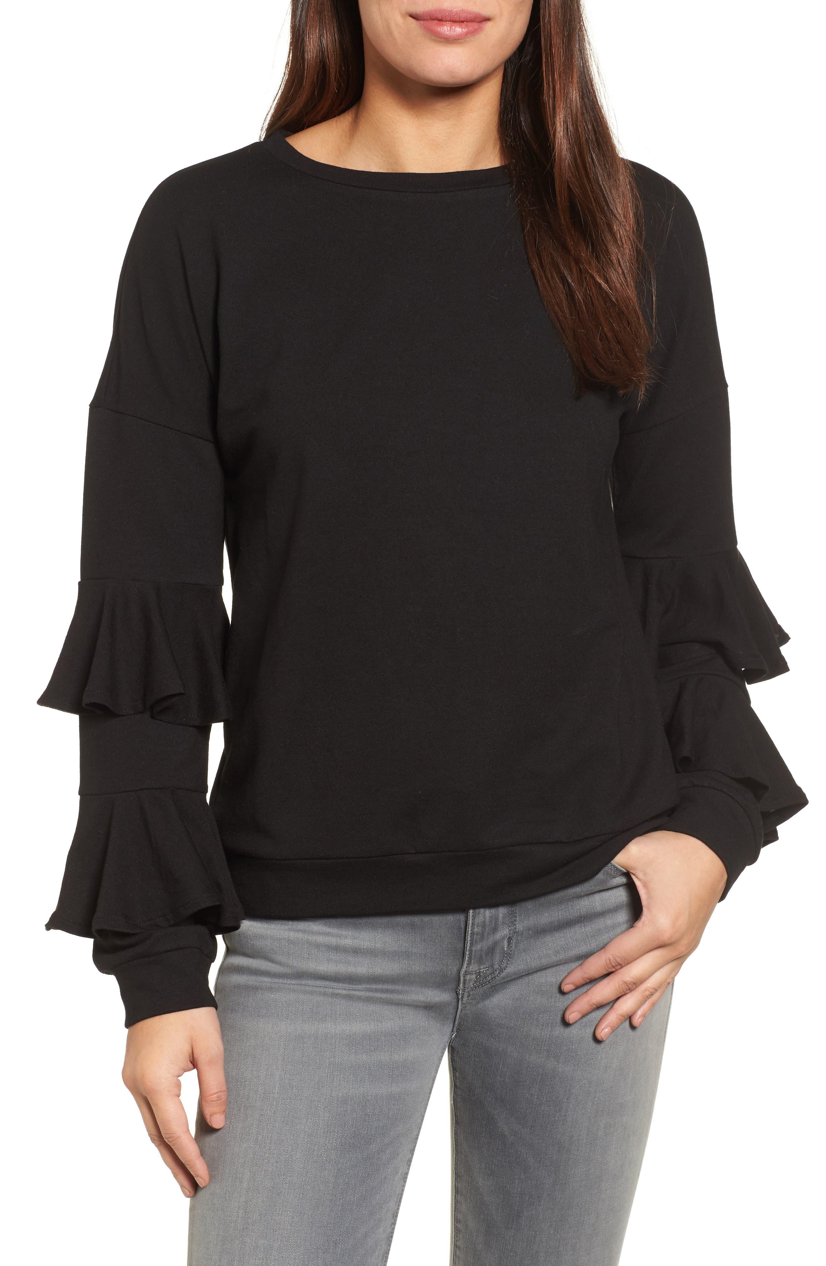Alternate Image 1 Selected - Halogen® Ruffle Sleeve Sweatshirt (Regular & Petite)