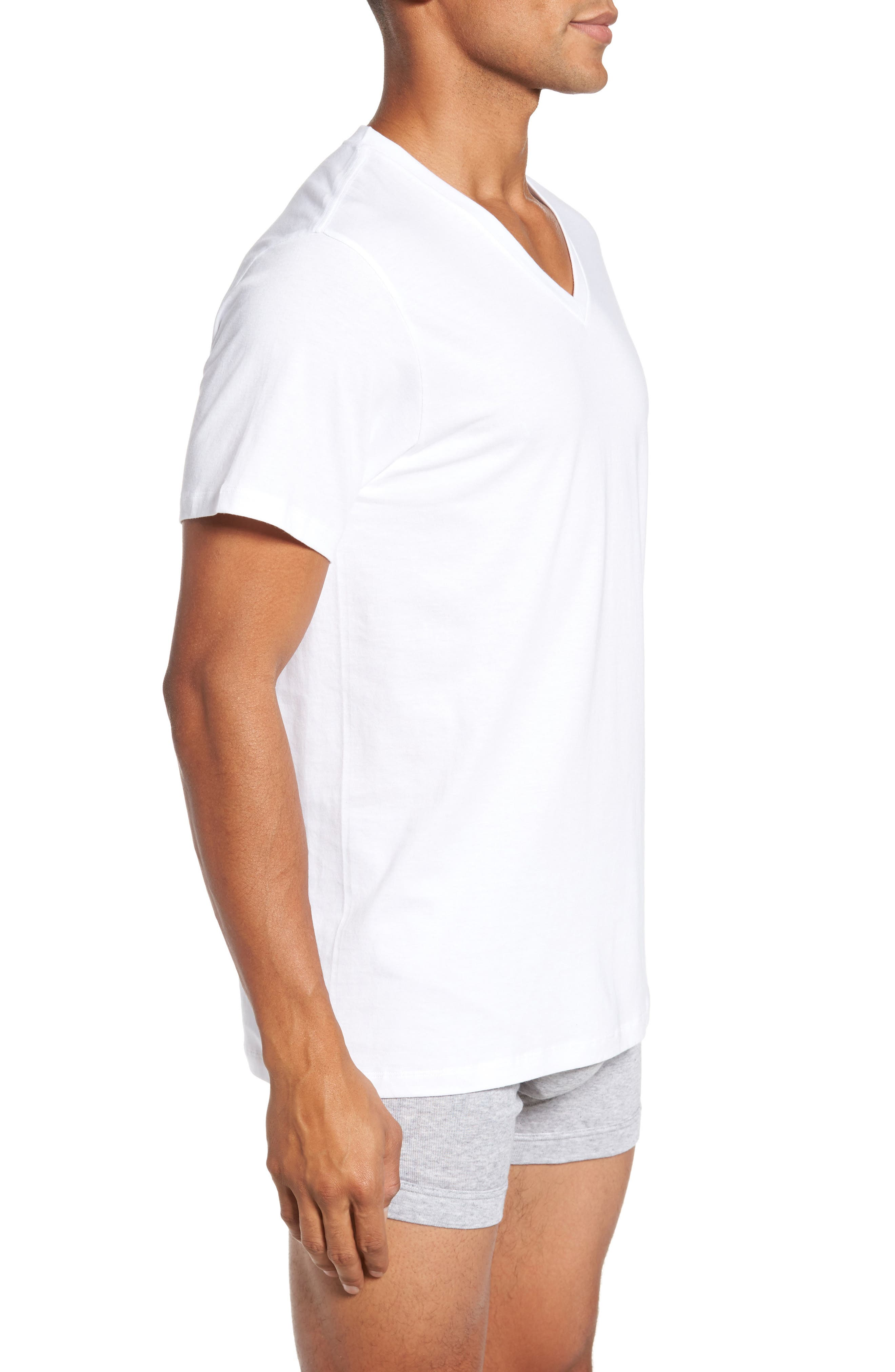 4-Pack V-Neck T-Shirt,                             Alternate thumbnail 3, color,                             White