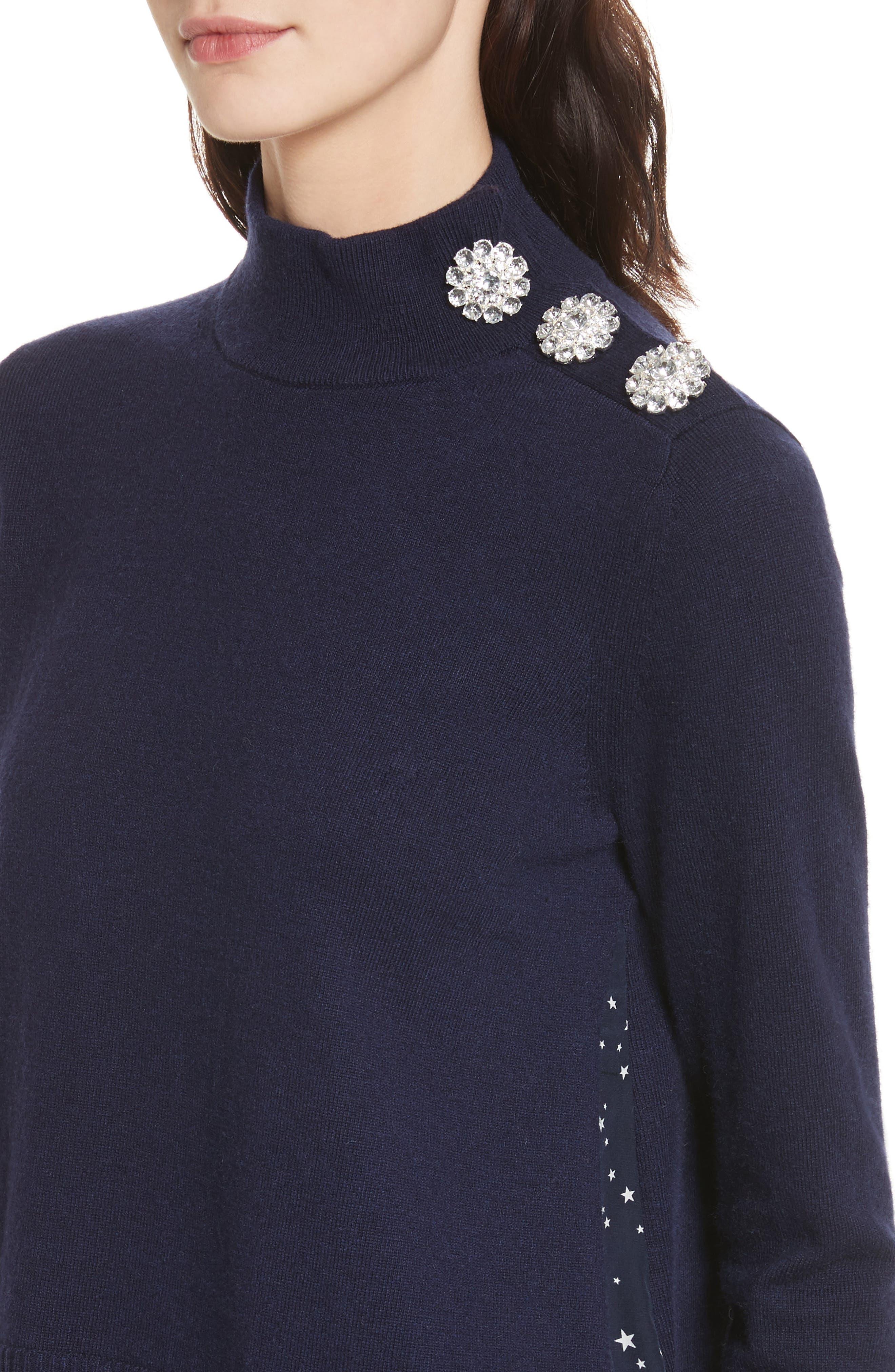 night sky mixed media sweater,                             Alternate thumbnail 4, color,                             Rich Navy