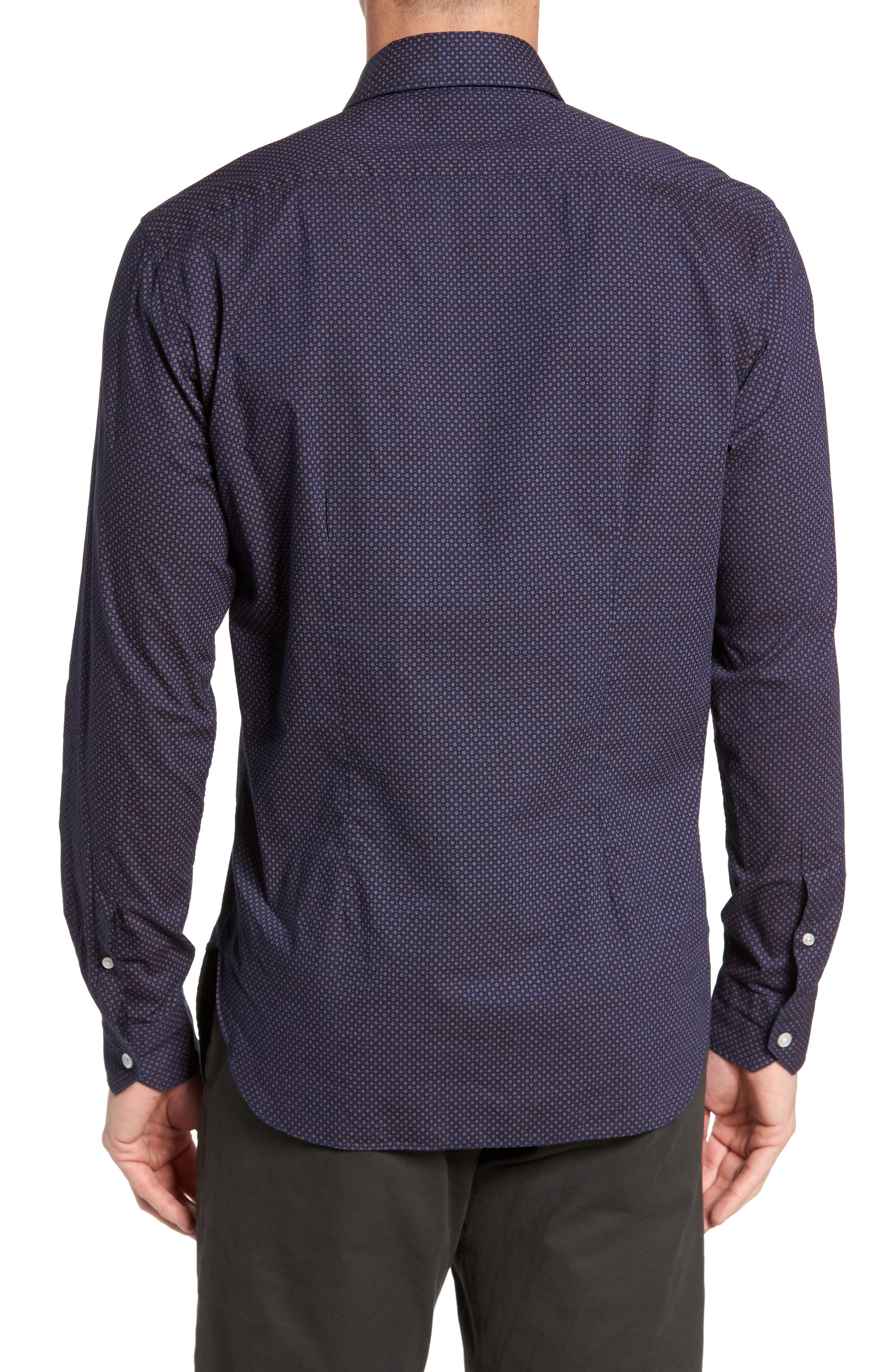 Dyed Print Sport Shirt,                             Alternate thumbnail 2, color,                             Navy