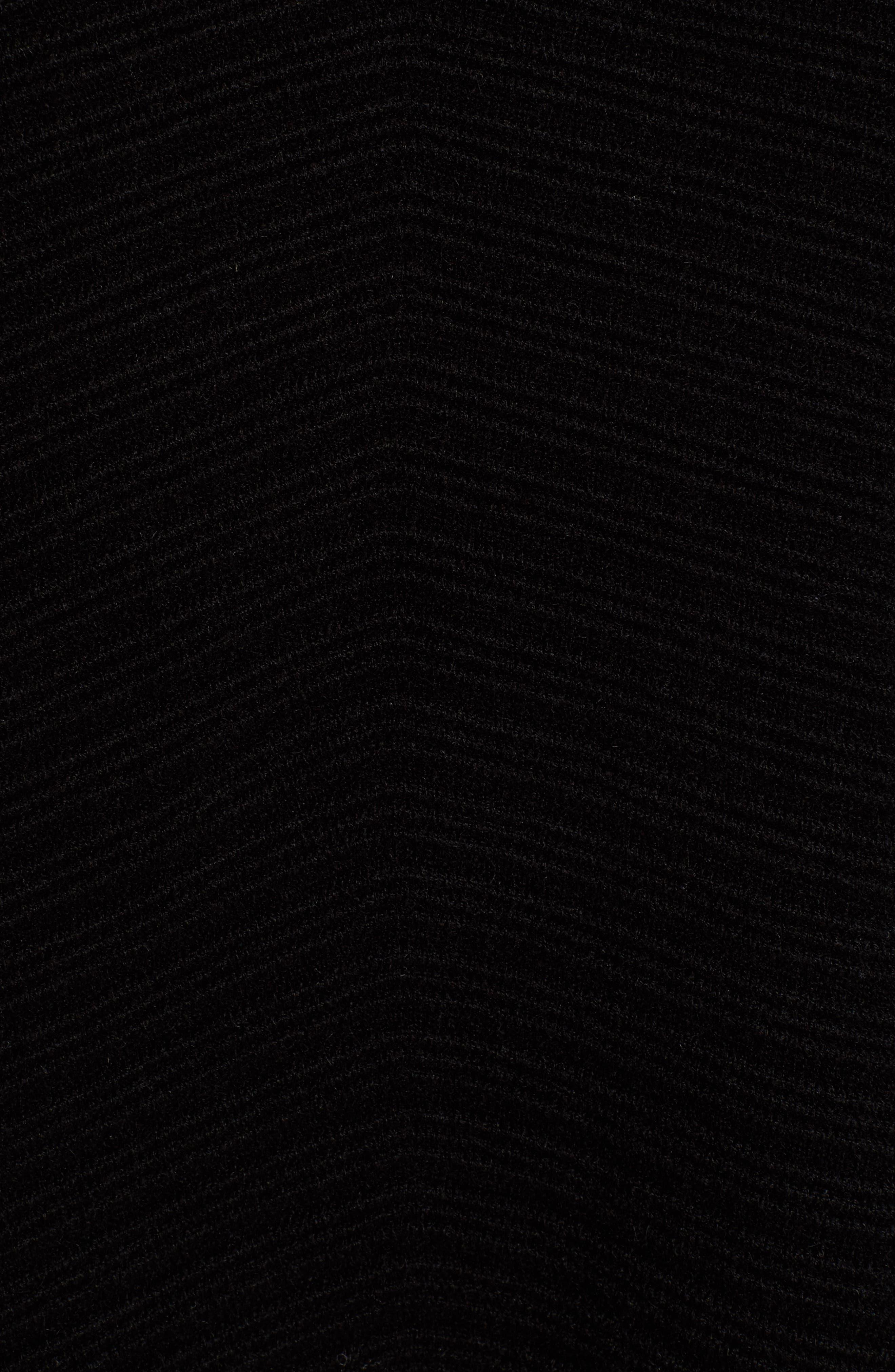 Scrunch Neck Ottoman Knit Cashmere Sweater,                             Alternate thumbnail 5, color,                             Black