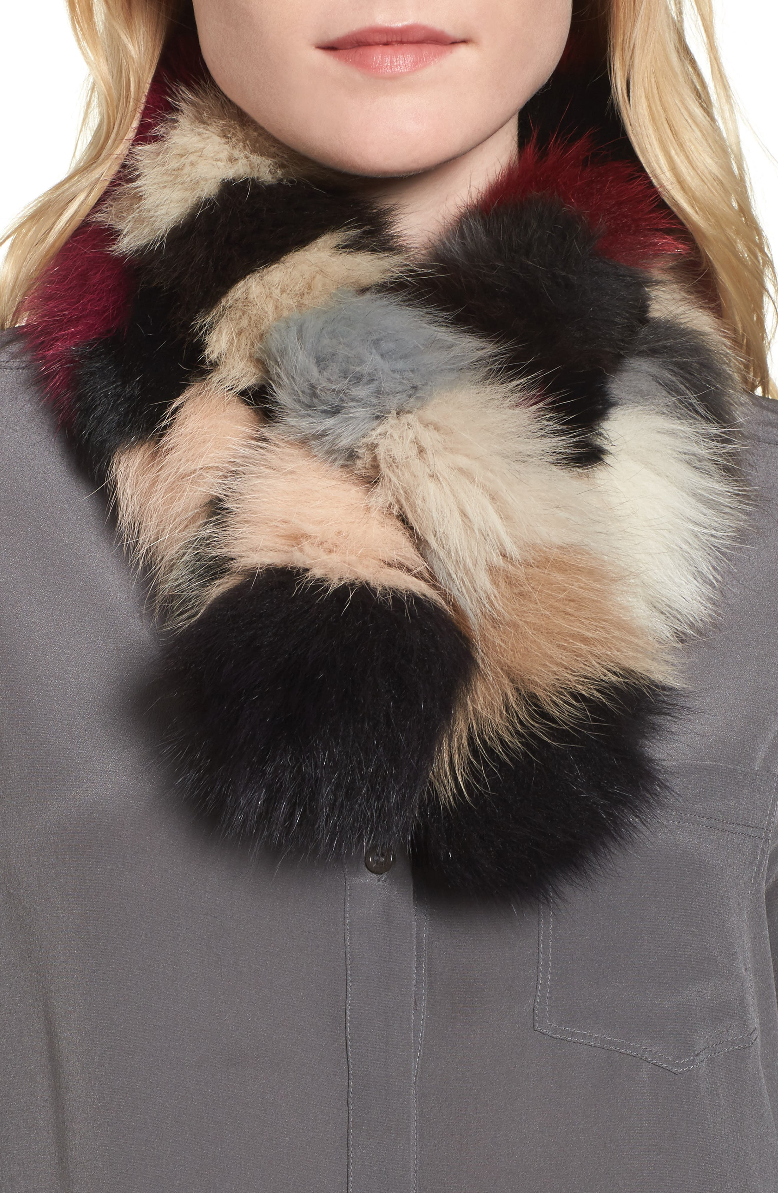 Genuine Fox Fur Scarf,                             Main thumbnail 1, color,                             Multi/ Black