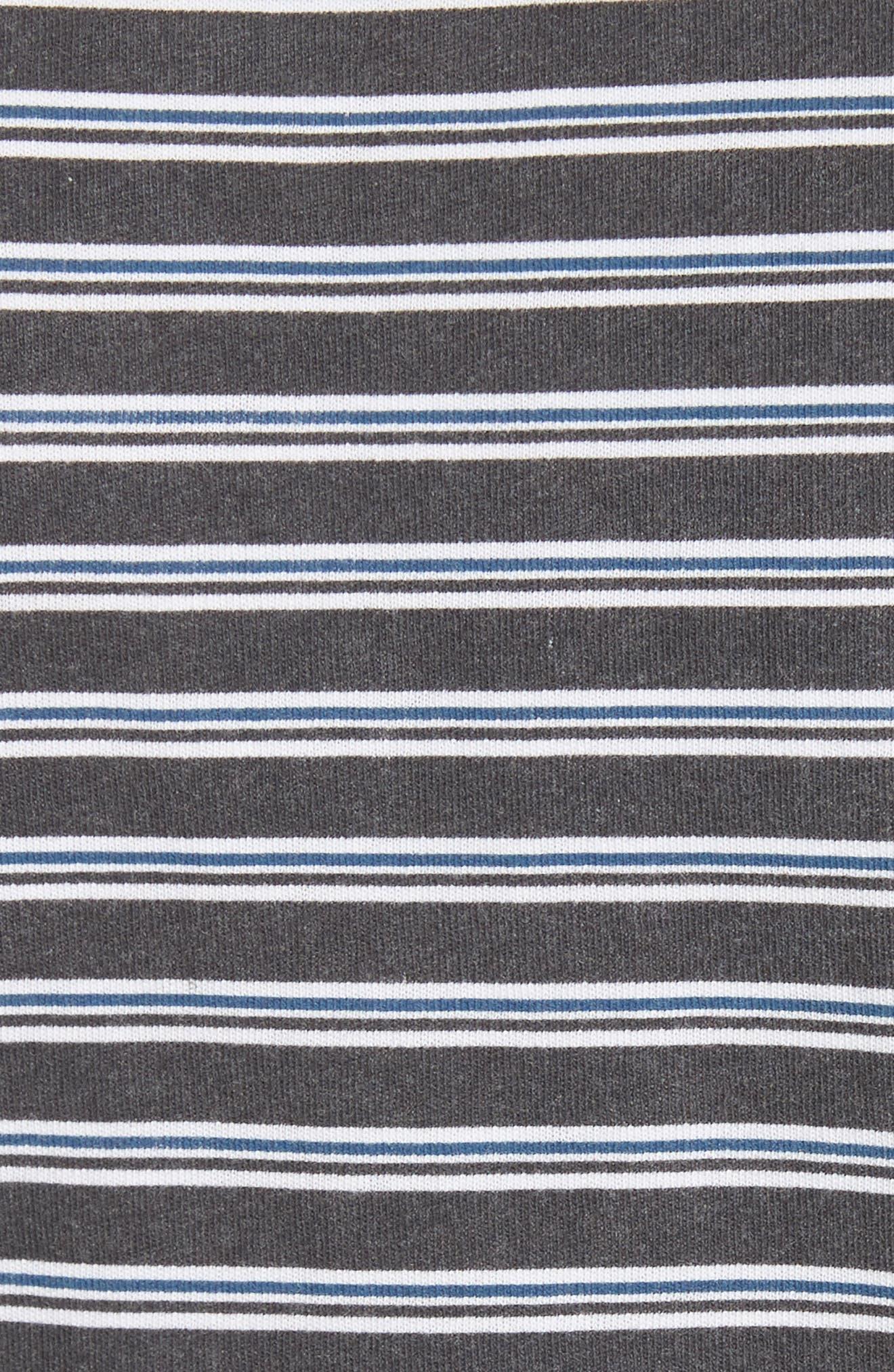Ruched Stripe Cotton Tee,                             Alternate thumbnail 5, color,                             Black/ White/ Indigo Stripe