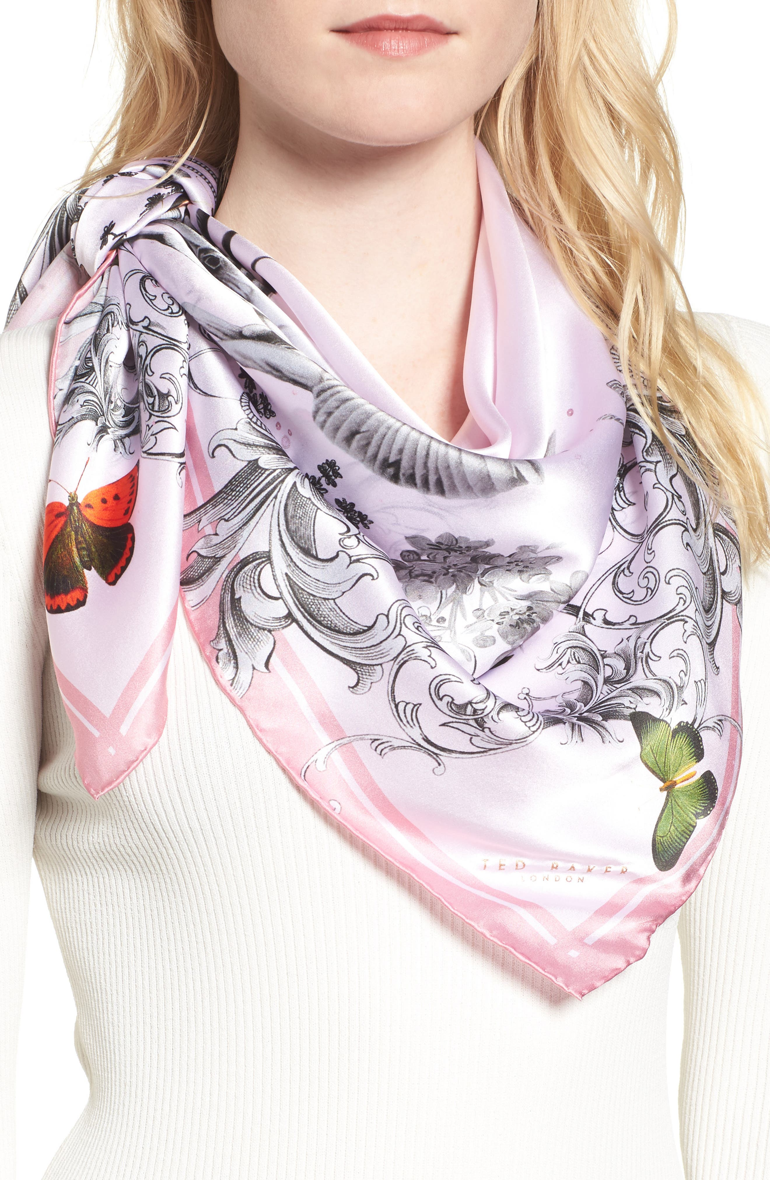 Enchanted Dream Silk Square Scarf,                             Main thumbnail 1, color,                             59-Pale Pink