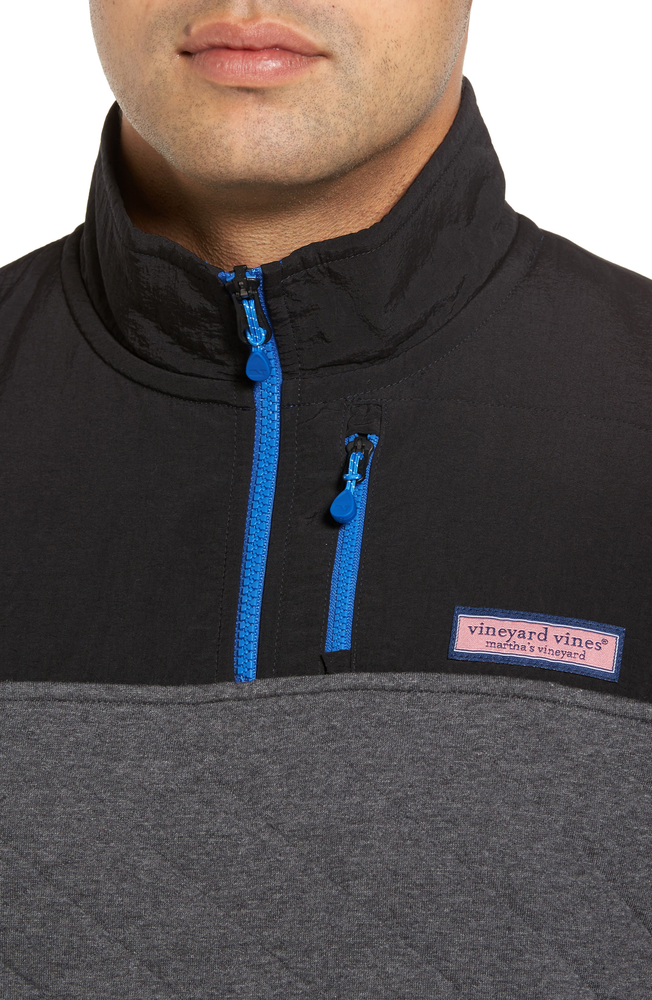 Quilted Quarter Zip Pullover,                             Alternate thumbnail 4, color,                             Charcoal Heather