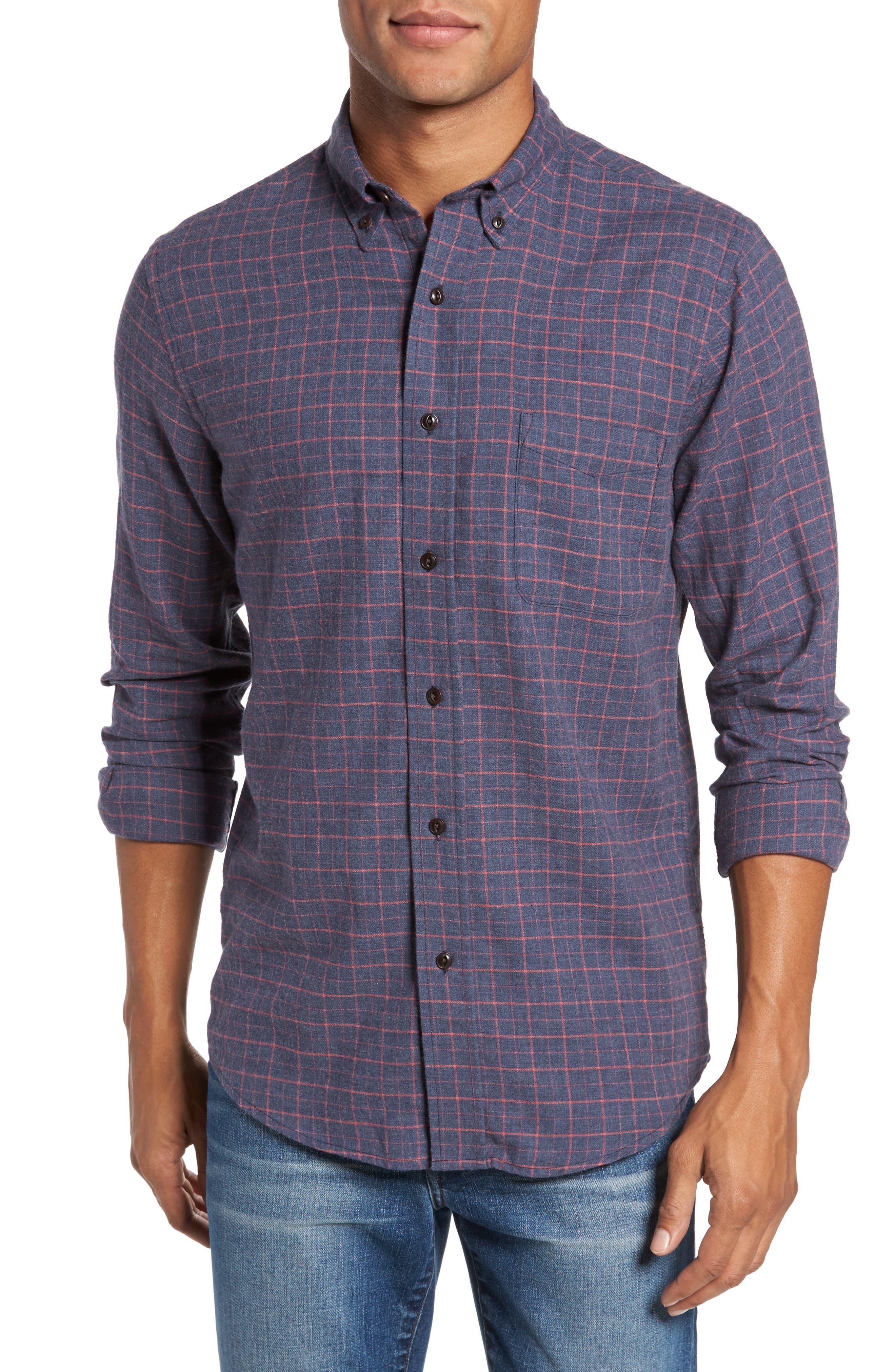 Ventura Check Sport Shirt,                         Main,                         color, Char Coral Windowpane