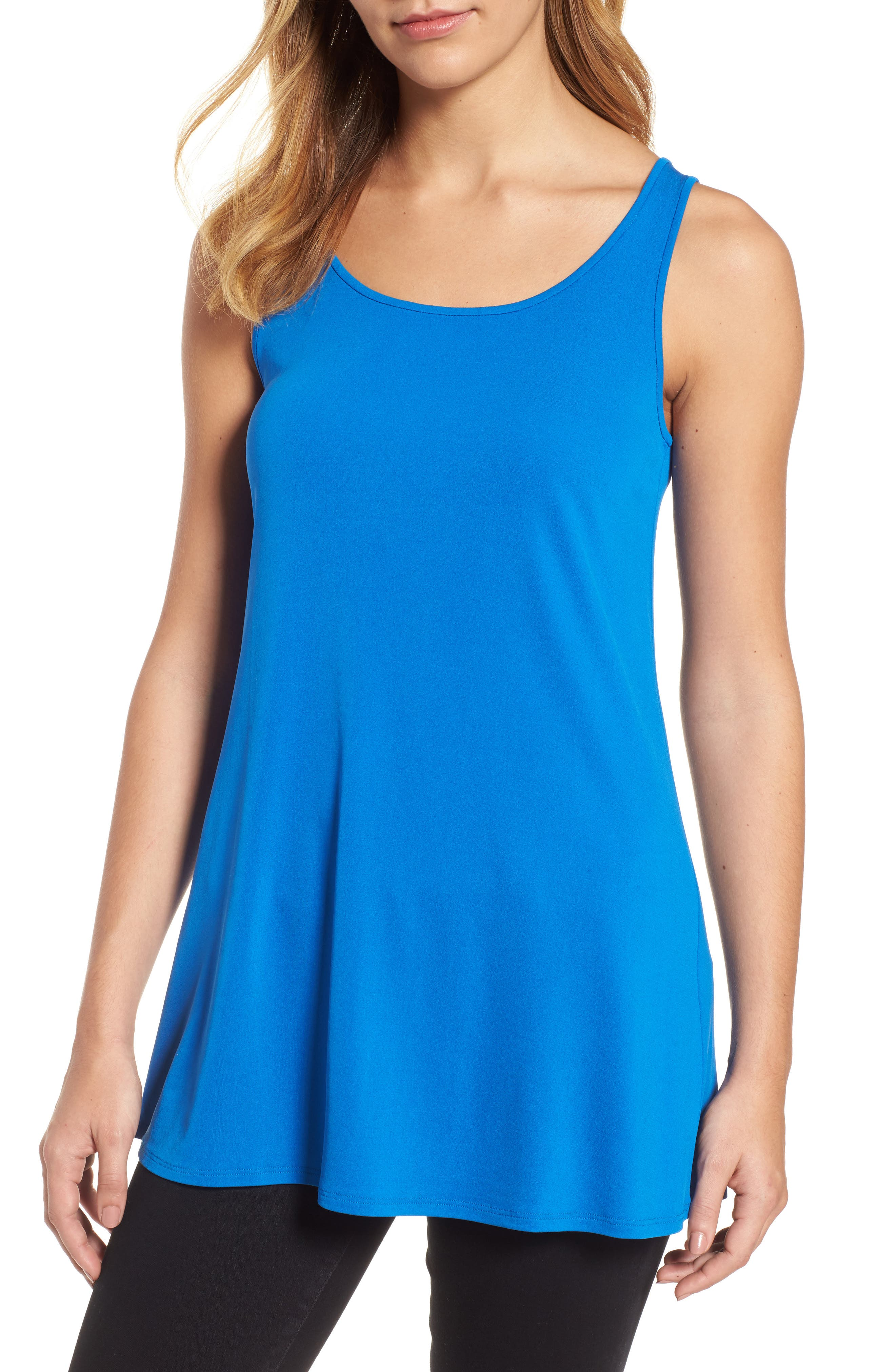 Scoop Neck Silk Tunic,                         Main,                         color, Catalina