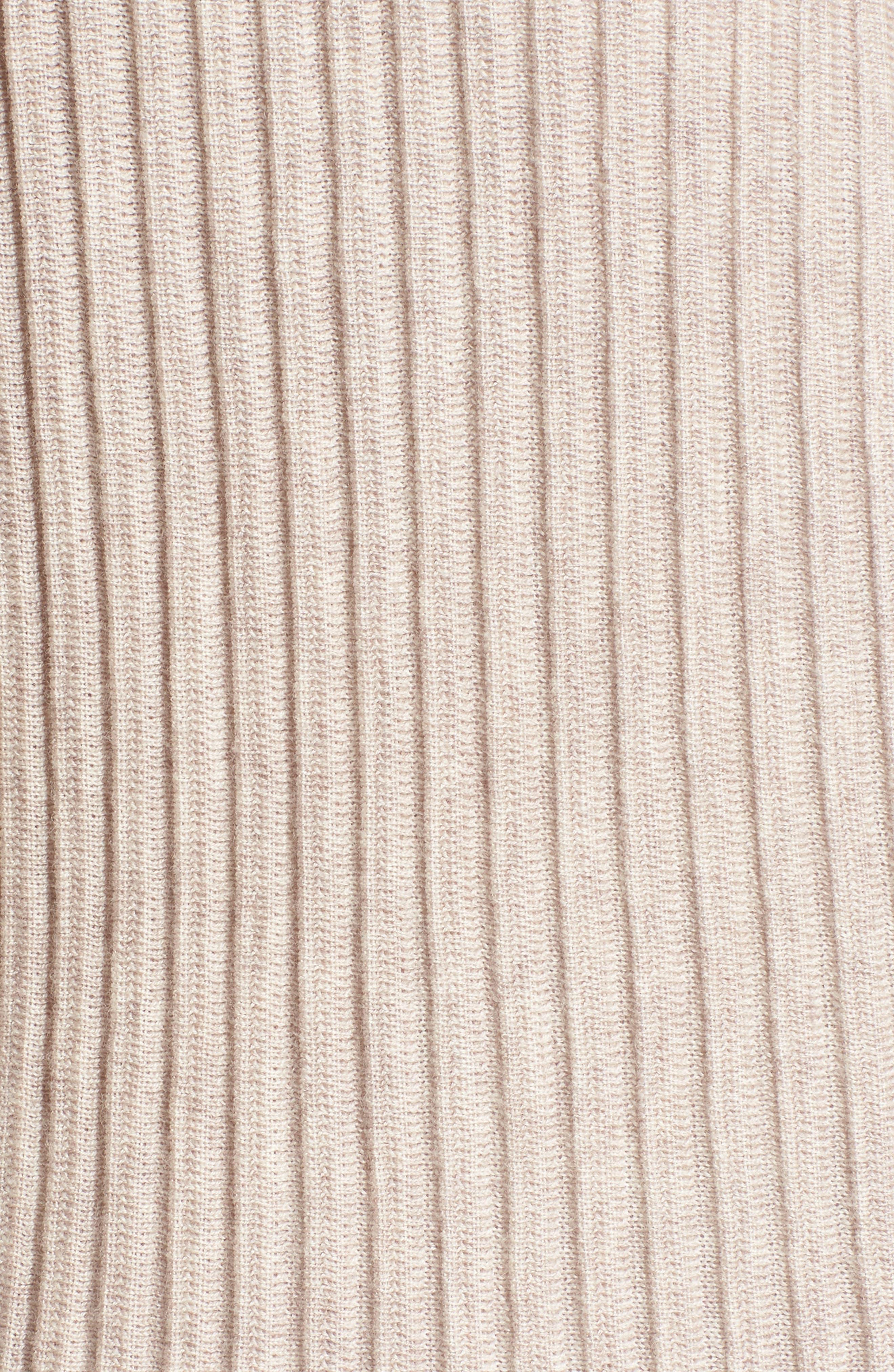 Ribbed Merino Wool Long Cardigan,                             Alternate thumbnail 5, color,                             Maple Oat