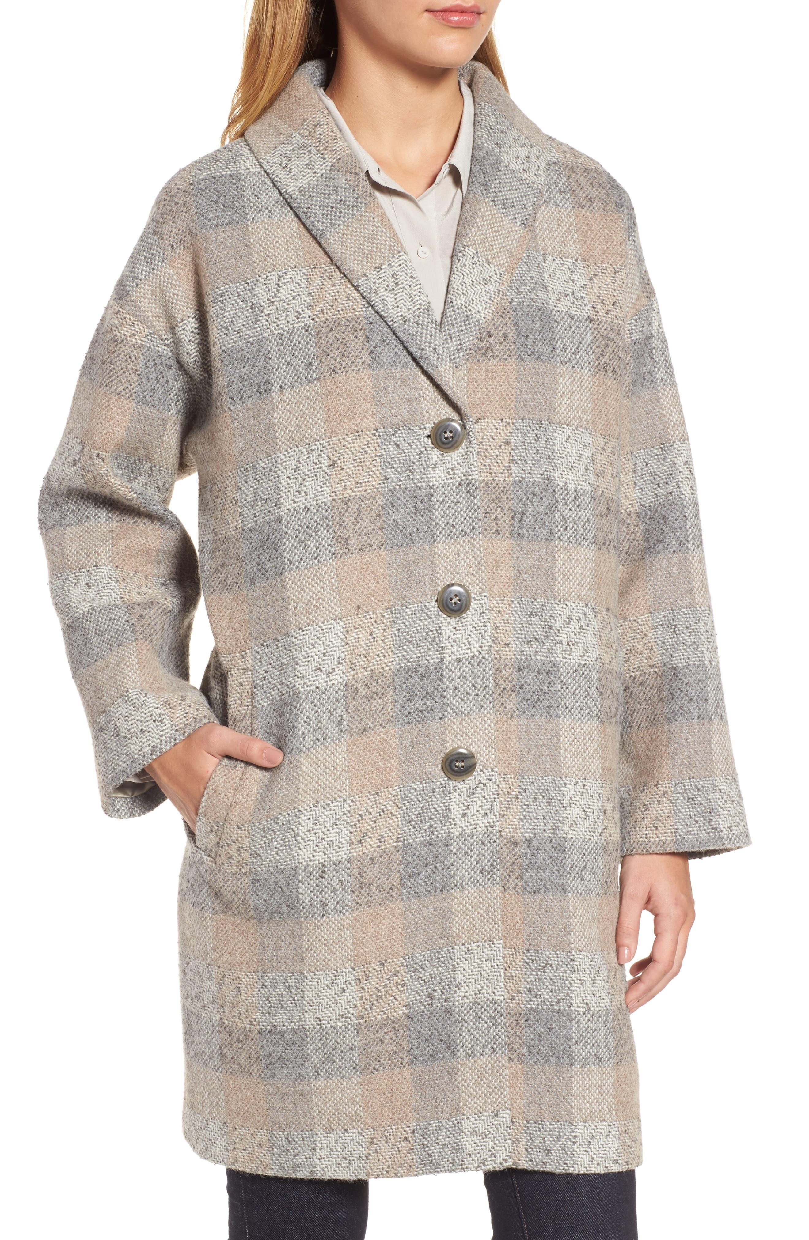 Plaid Alpaca Blend Coat,                             Alternate thumbnail 4, color,                             Dark Pearl