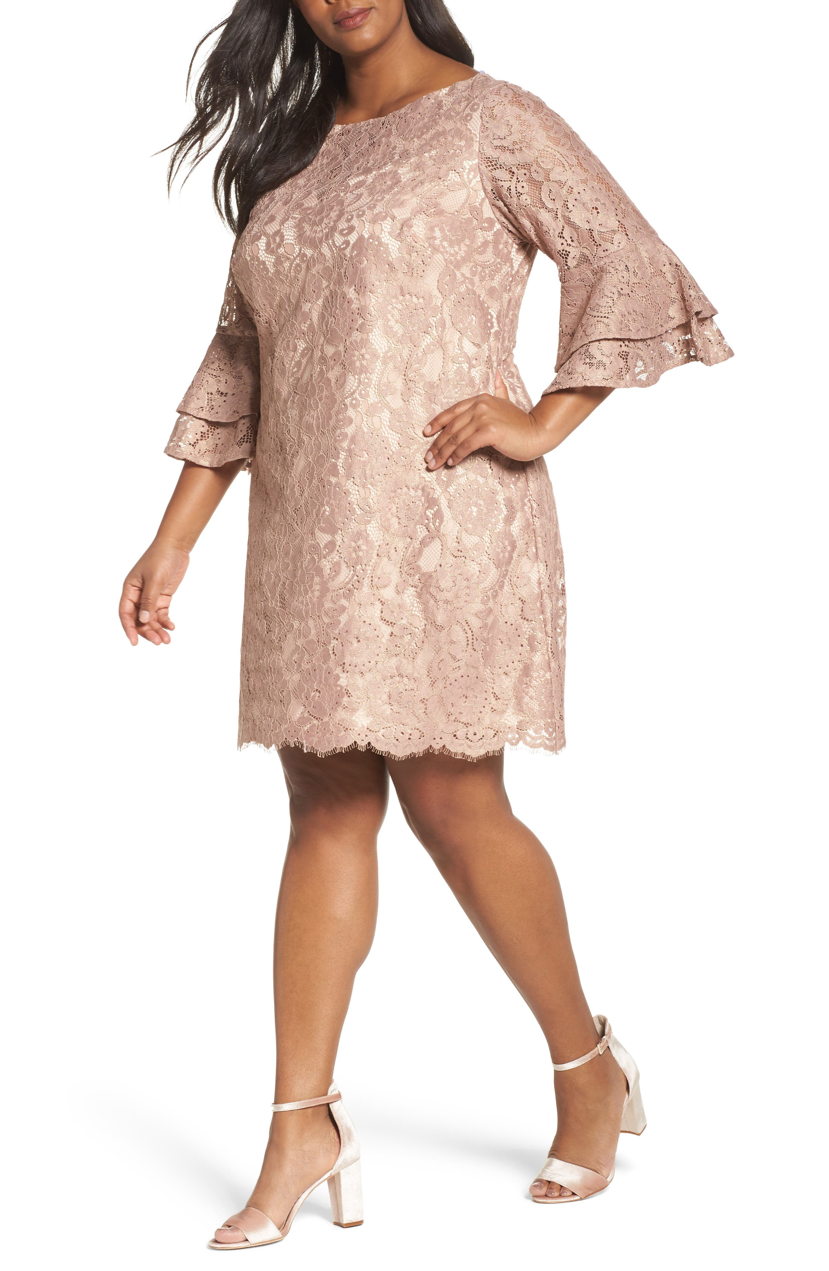 Ruffle Cuff Lace Shift Dress,                         Main,                         color, Blush
