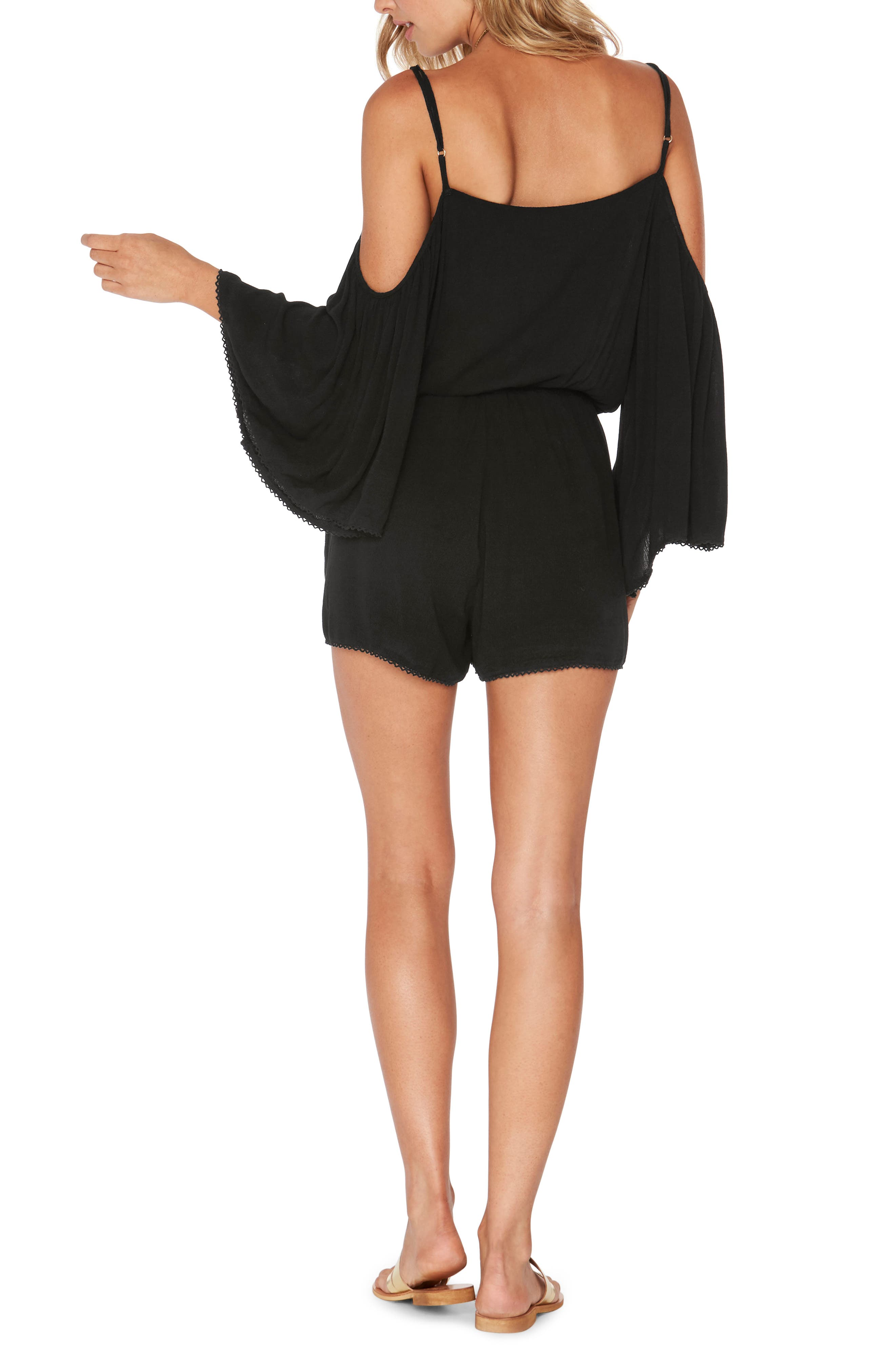Soho Cold Shoulder Cover-Up Romper,                             Alternate thumbnail 2, color,                             Black