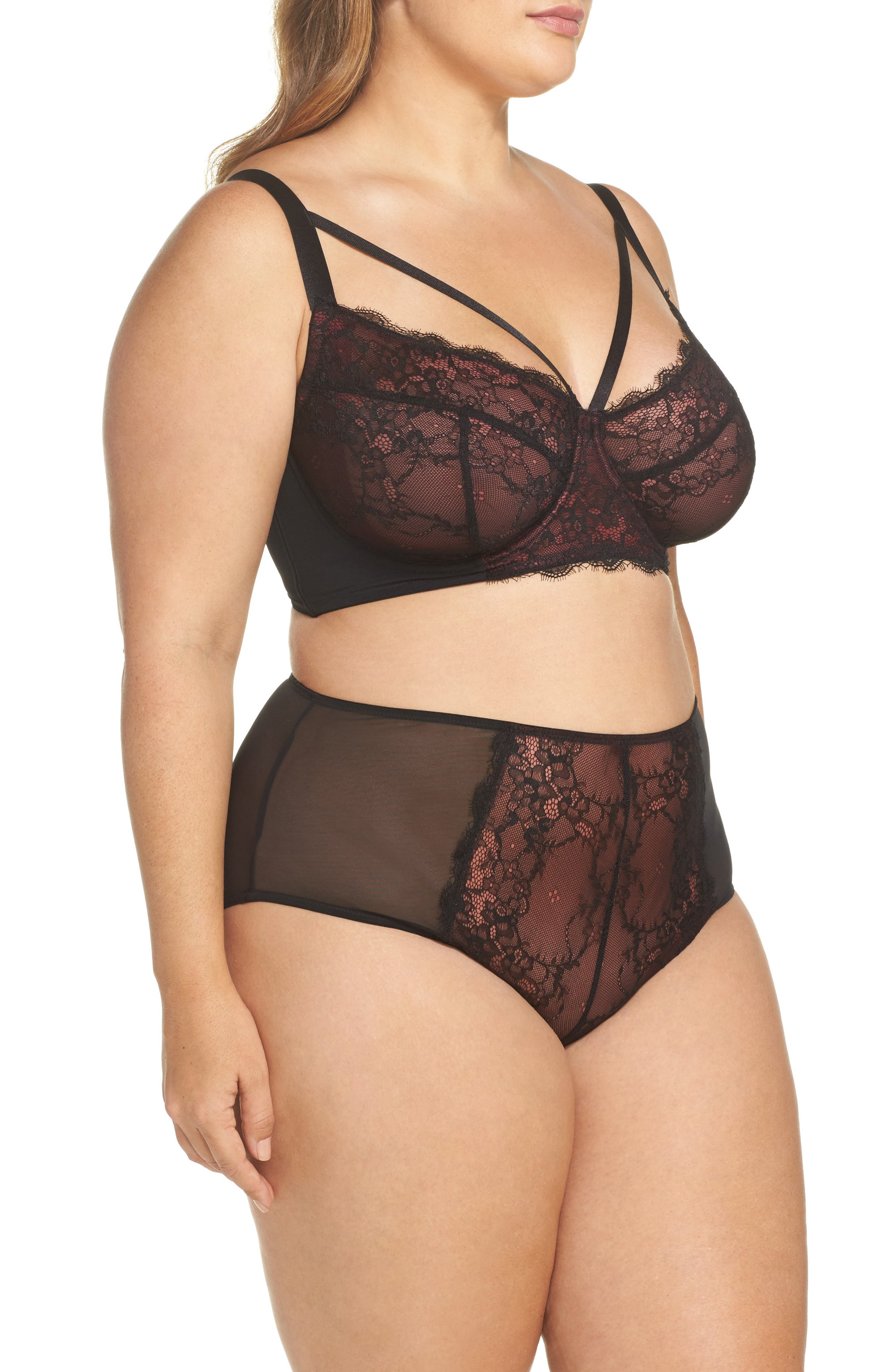 Gabi Fresh x Playful Promises Underwire Lace Harness Bra,                             Alternate thumbnail 8, color,                             Red/ Black