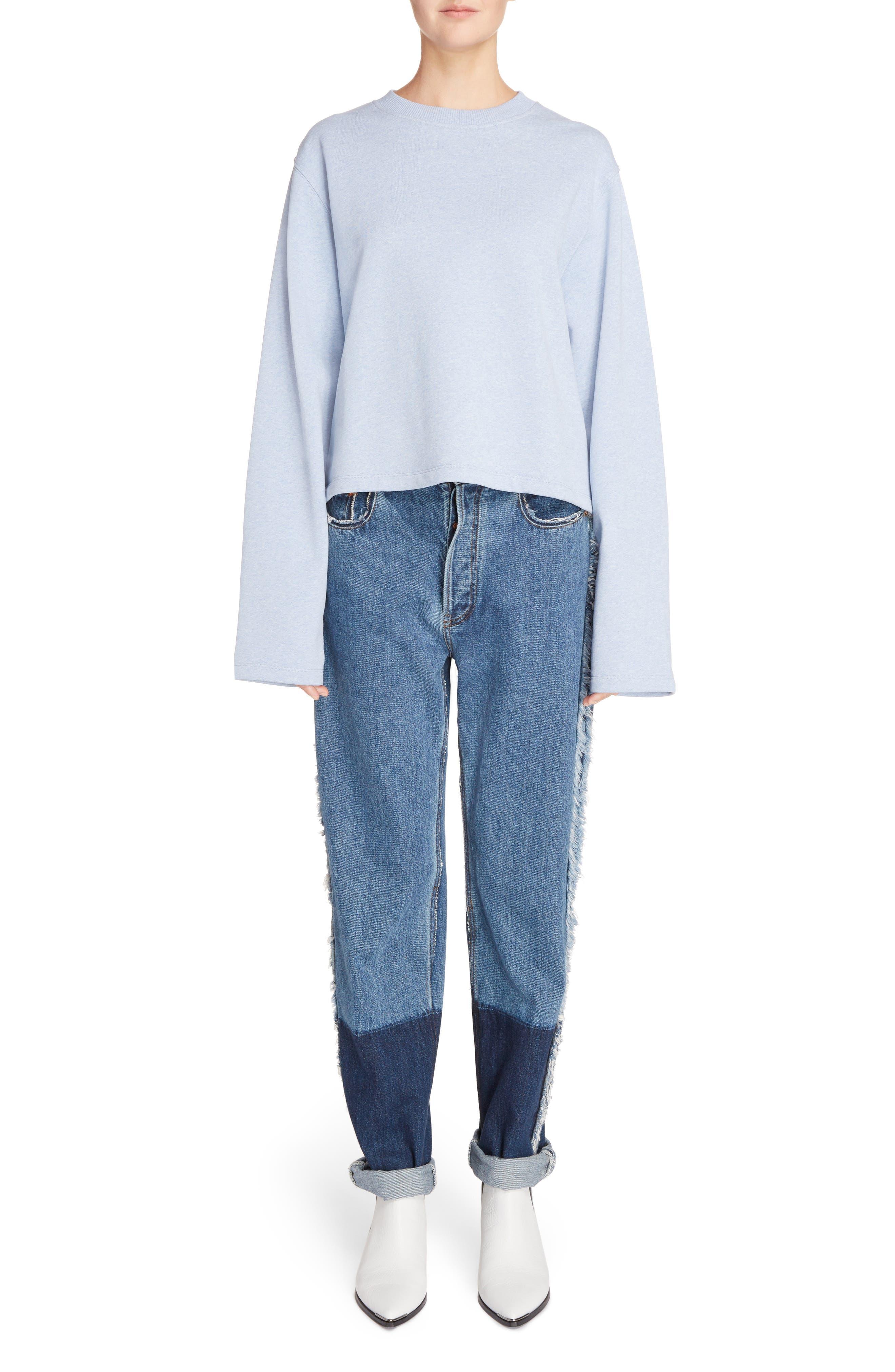 Mirja Frayed High Waist Straight Leg Jeans,                             Alternate thumbnail 9, color,                             Indigo Blue
