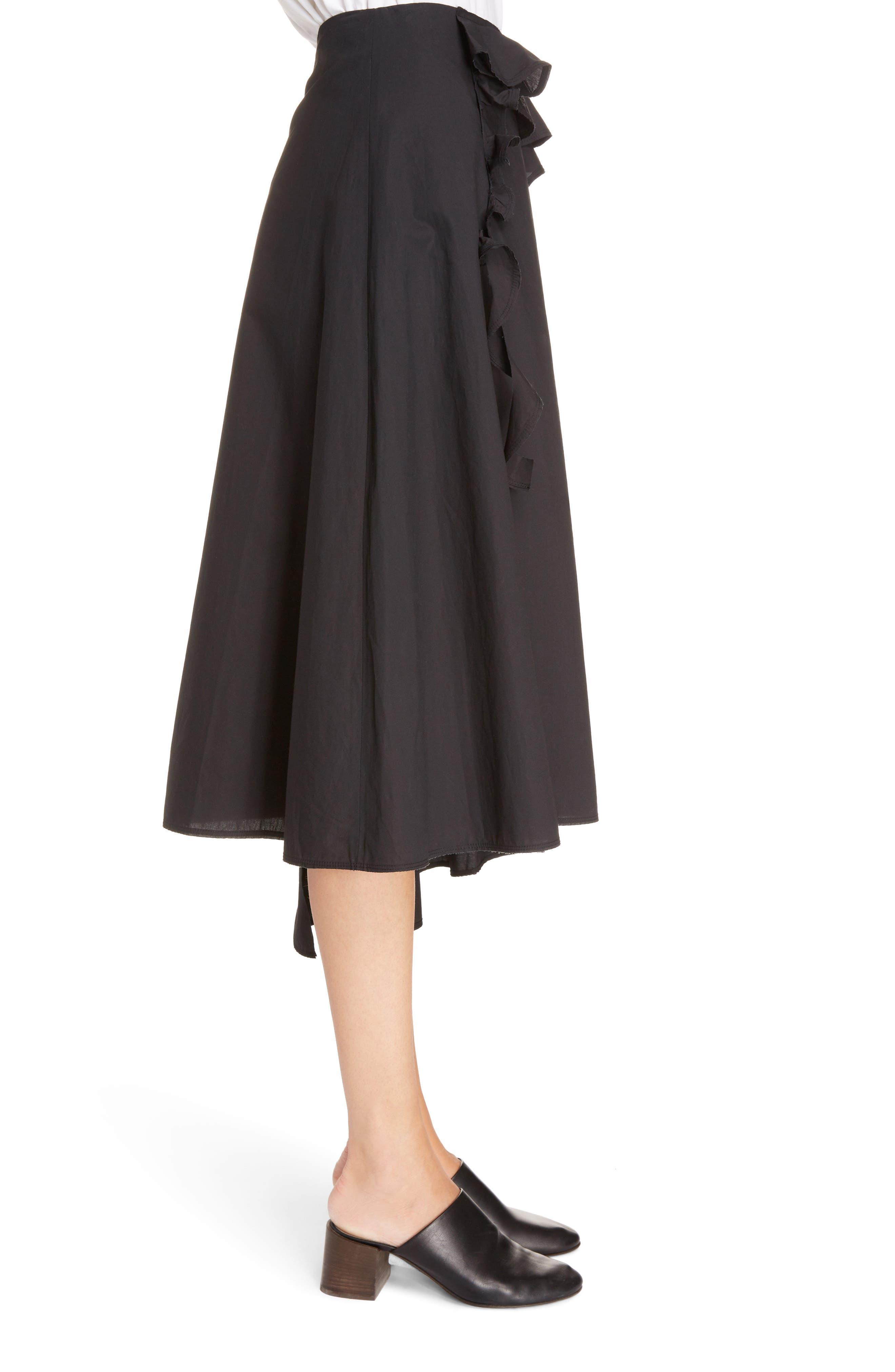 Hamina Ruffle Skirt,                             Alternate thumbnail 3, color,                             Black