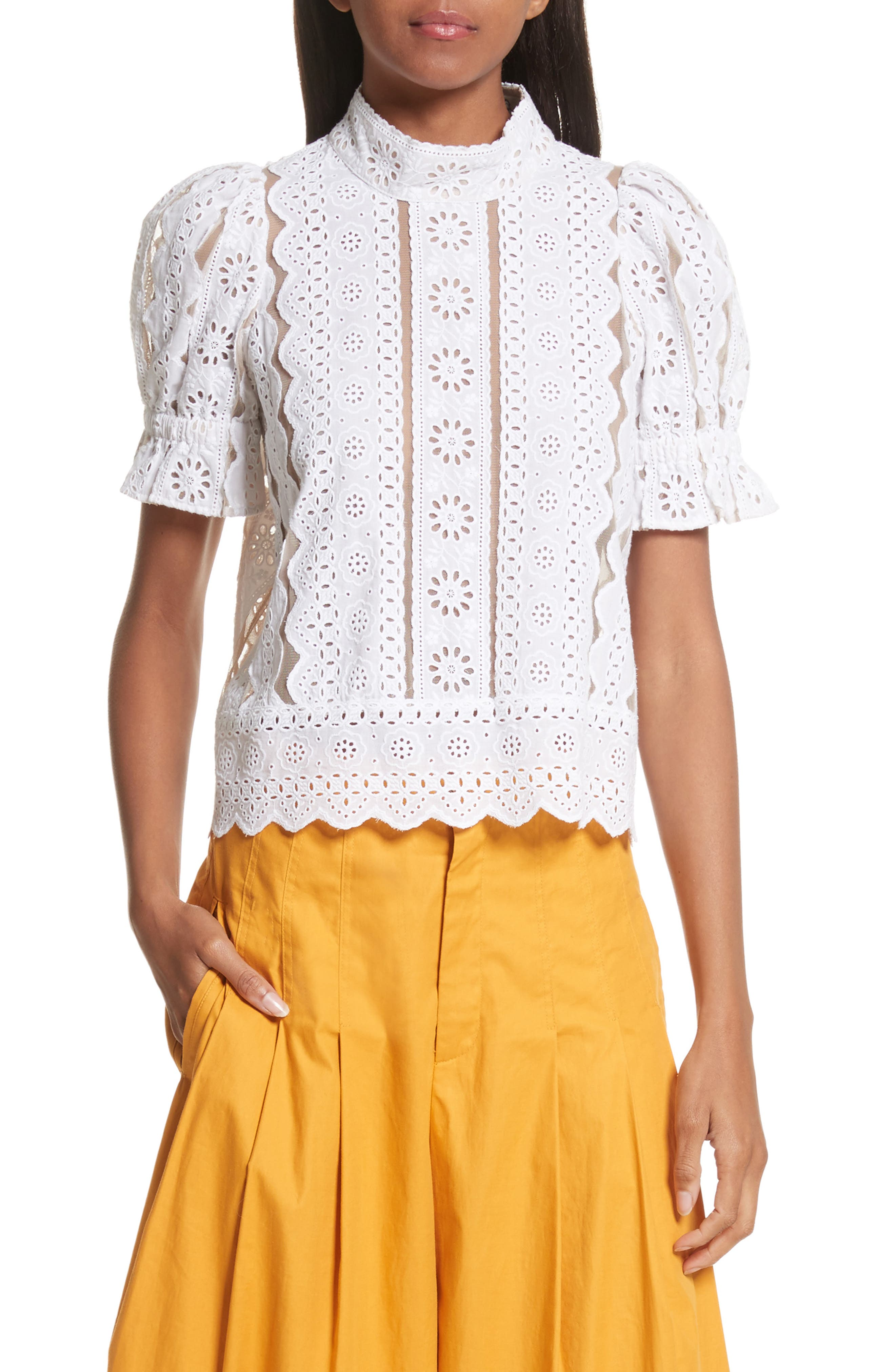 Luna Cotton Eyelet Top,                         Main,                         color, White With Nude Mesh