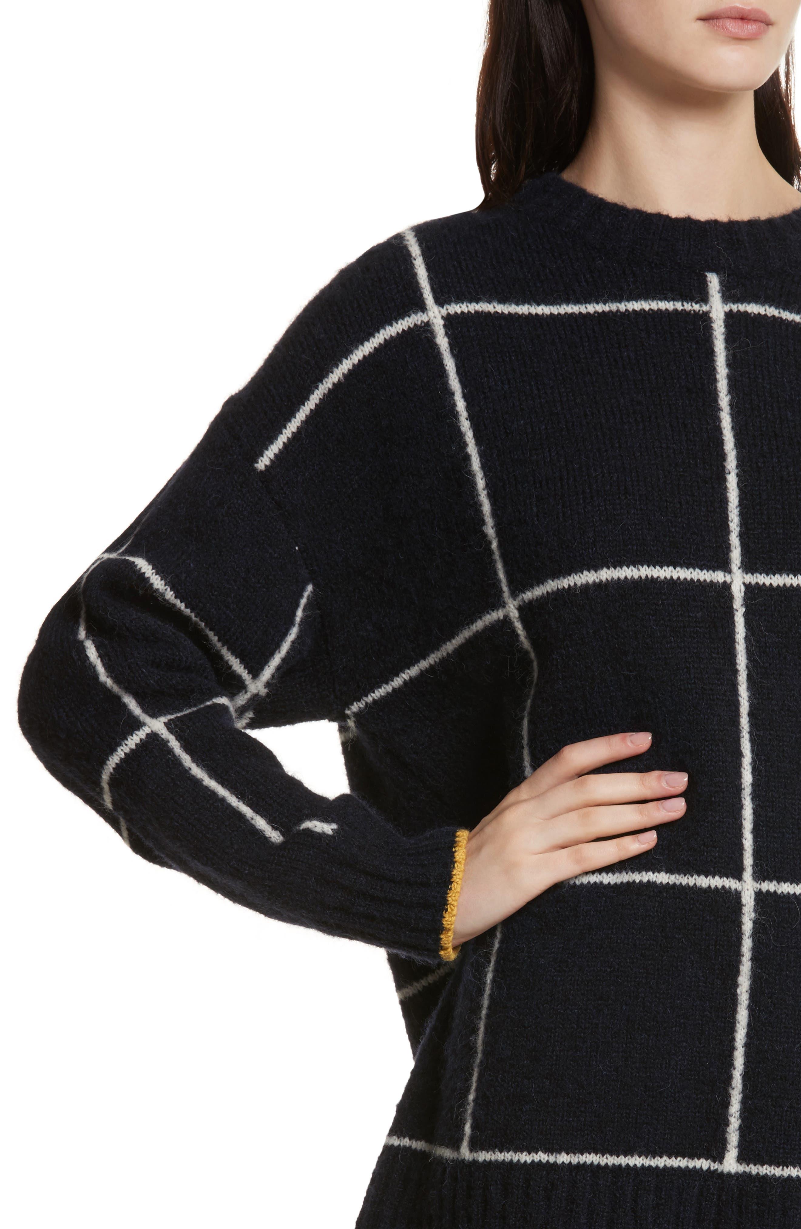 Fionn Windowpane Oversized Sweater,                             Alternate thumbnail 4, color,                             Navy/ Alabaster/ Pollen