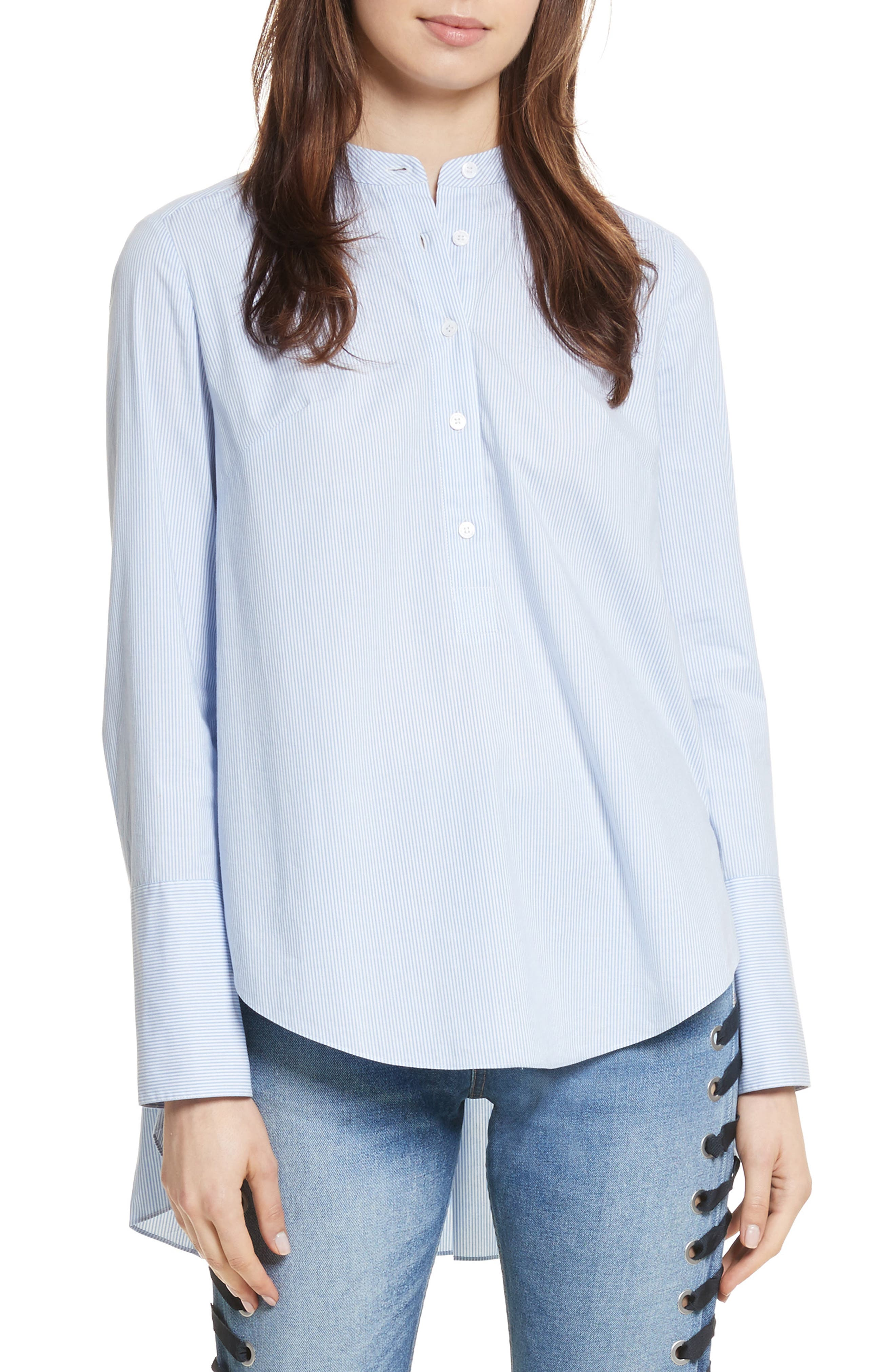 Greer Pleated Stretch Cotton Shirt,                         Main,                         color, Light Blue