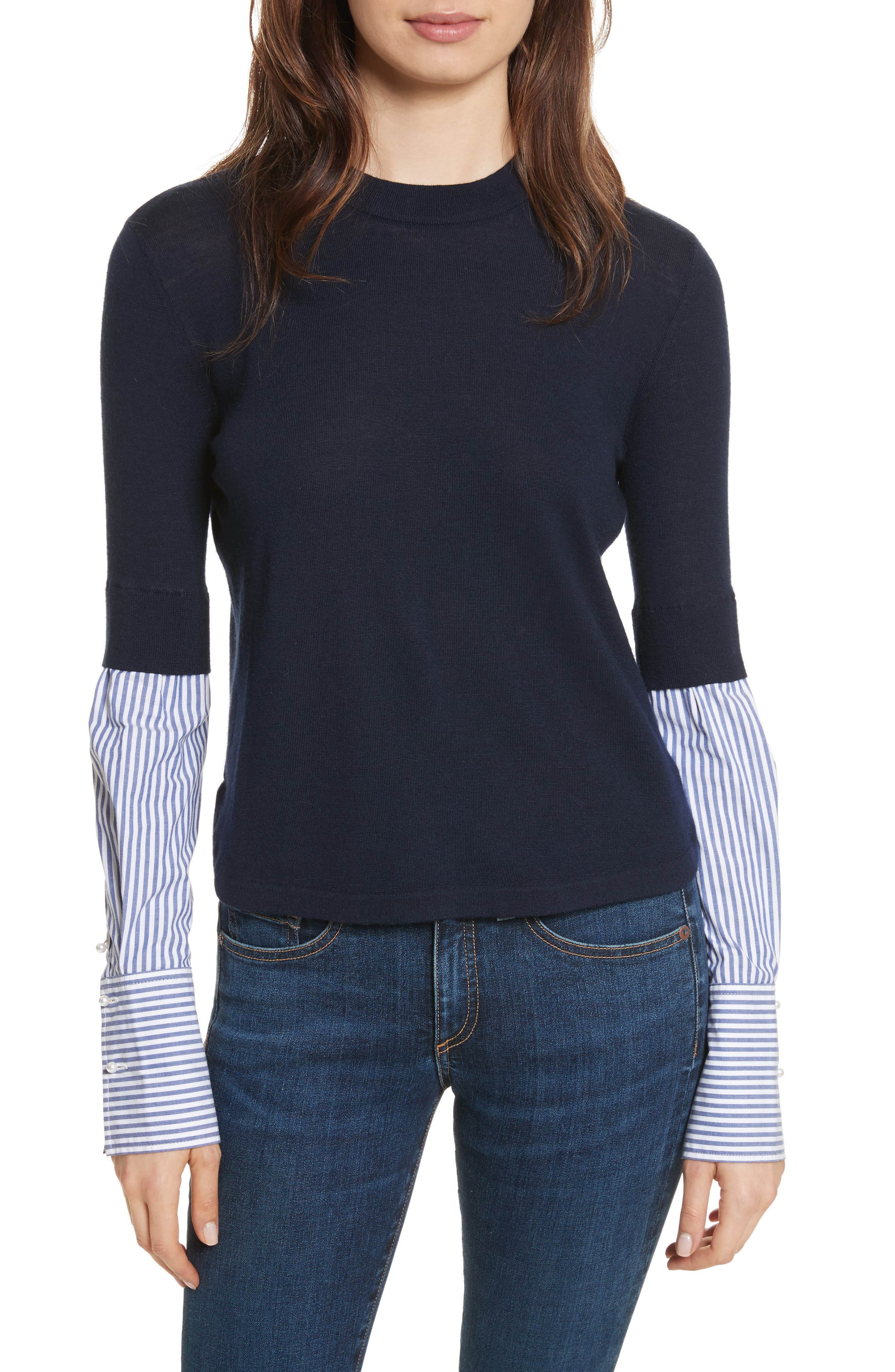 Roscoe Mixed Media Sweater,                         Main,                         color, Navy