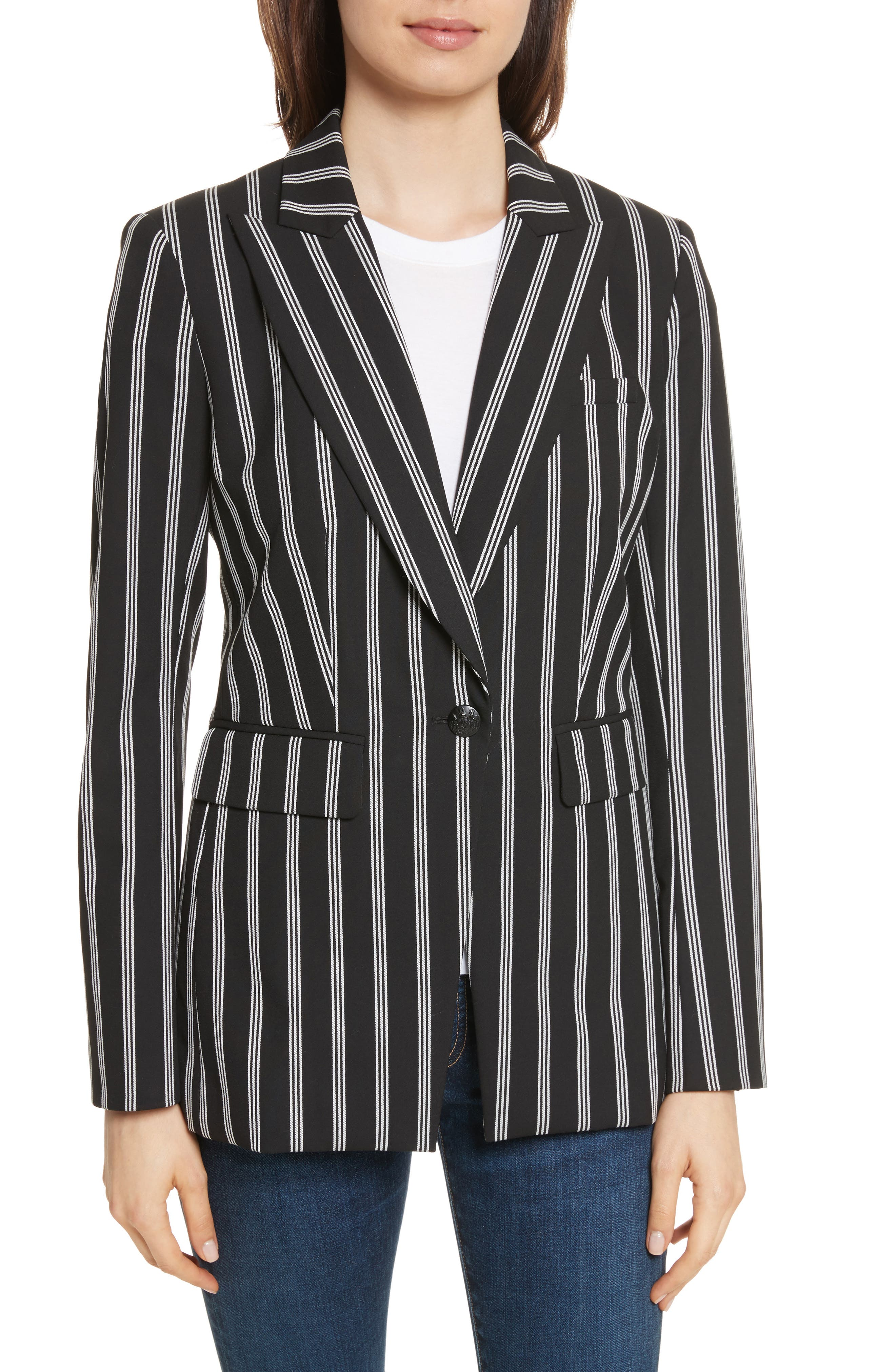 Petra Stripe Jacket,                         Main,                         color, Black/ White