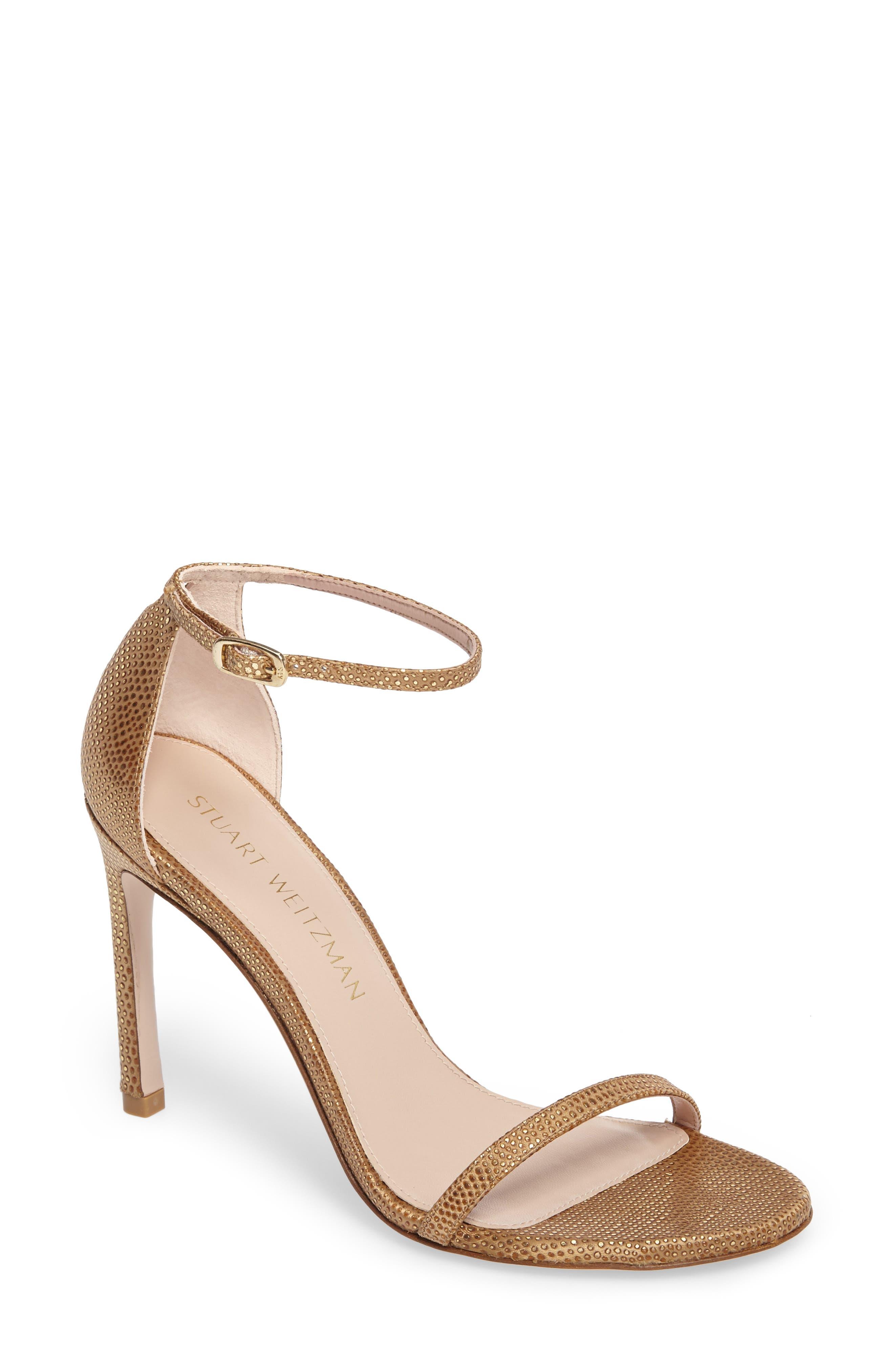 Nudistsong Ankle Strap Sandal,                             Main thumbnail 1, color,                             Gold Dot