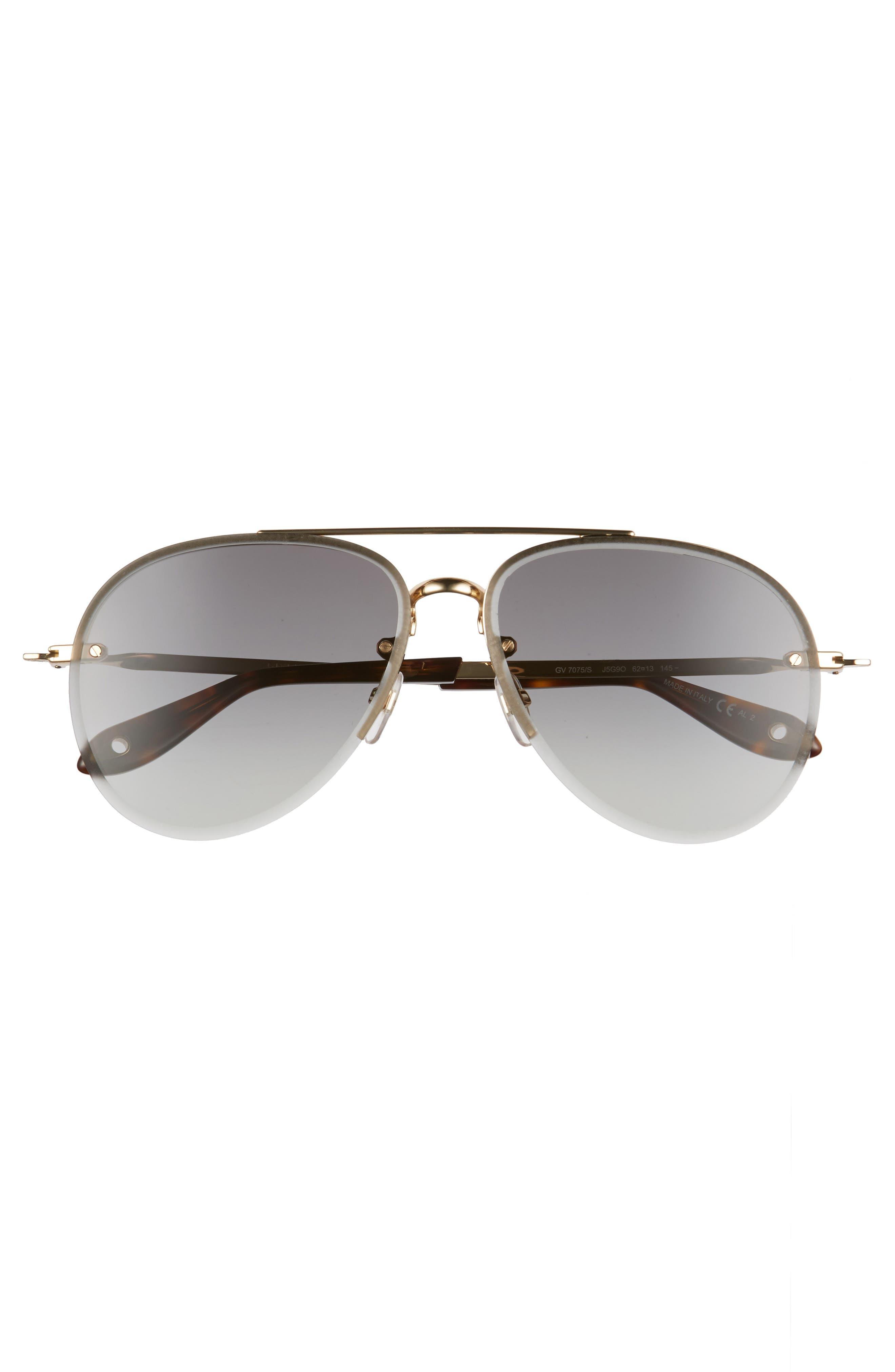 62mm Oversize Aviator Sunglasses,                             Alternate thumbnail 3, color,                             Gold