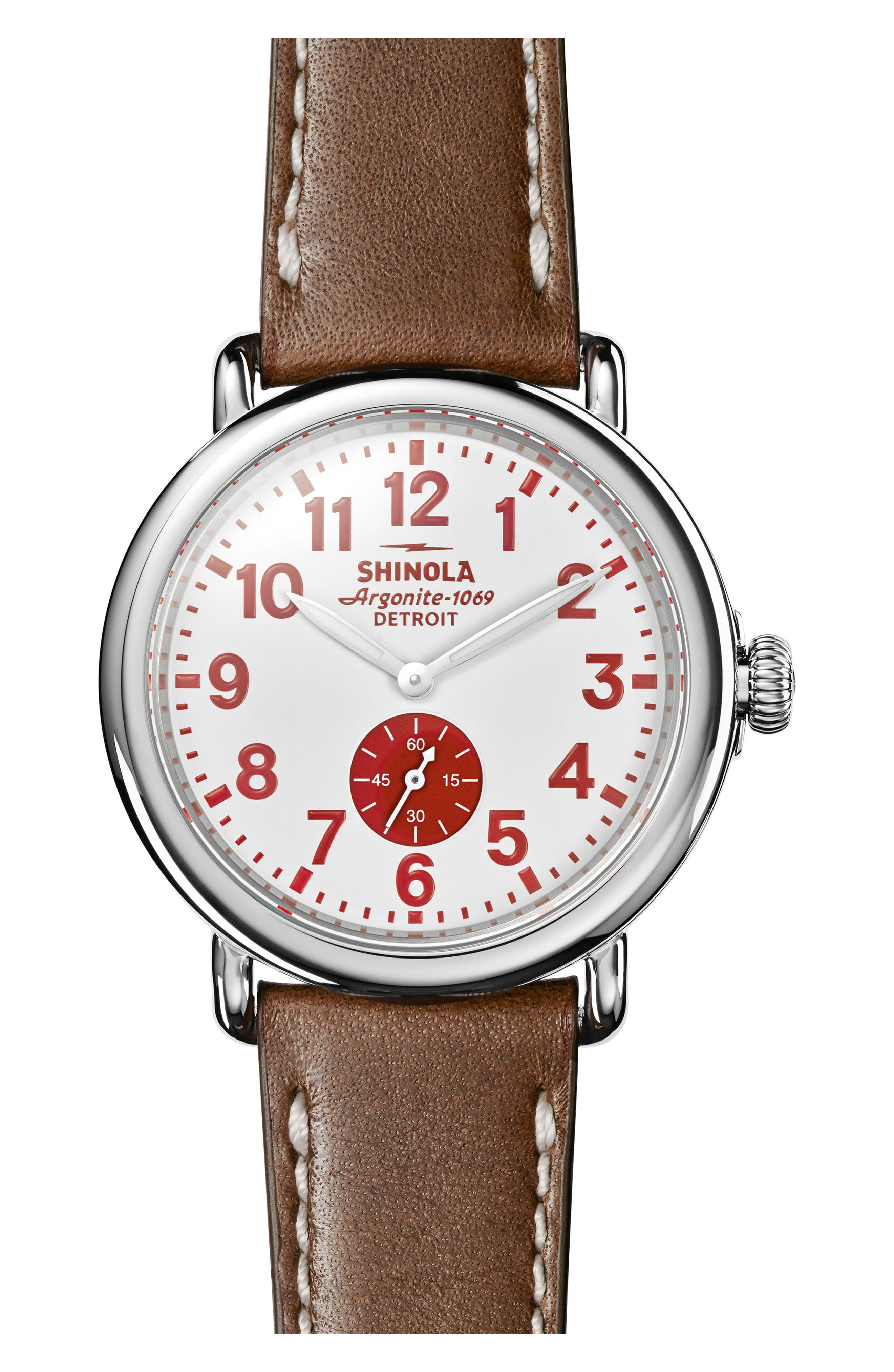 'The Runwell' Leather Strap Watch, 41mm,                         Main,                         color, Brown/ White/ Silver