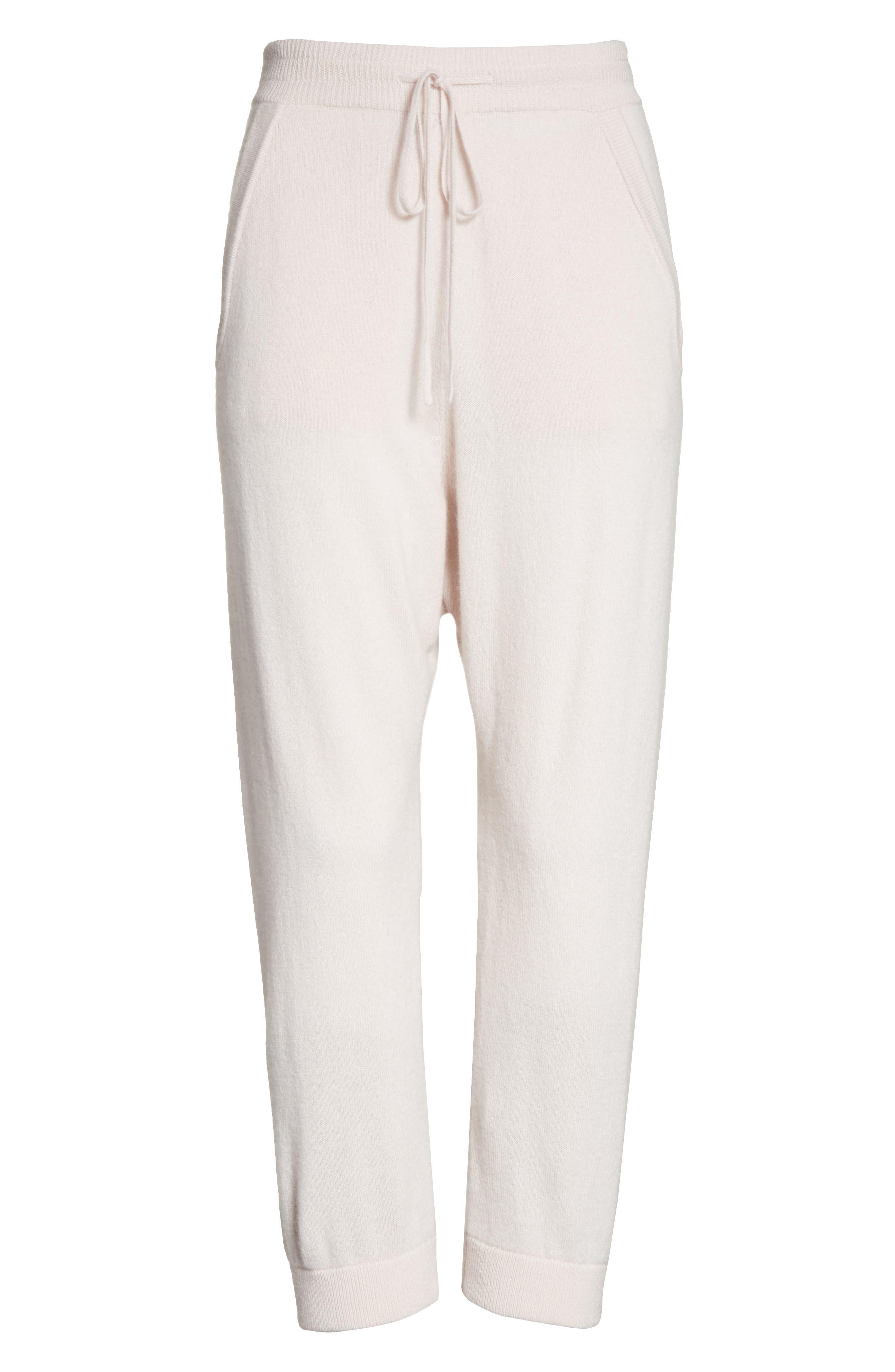 Janina Cashmere Crop Lounge Pants,                             Alternate thumbnail 7, color,                             Blush