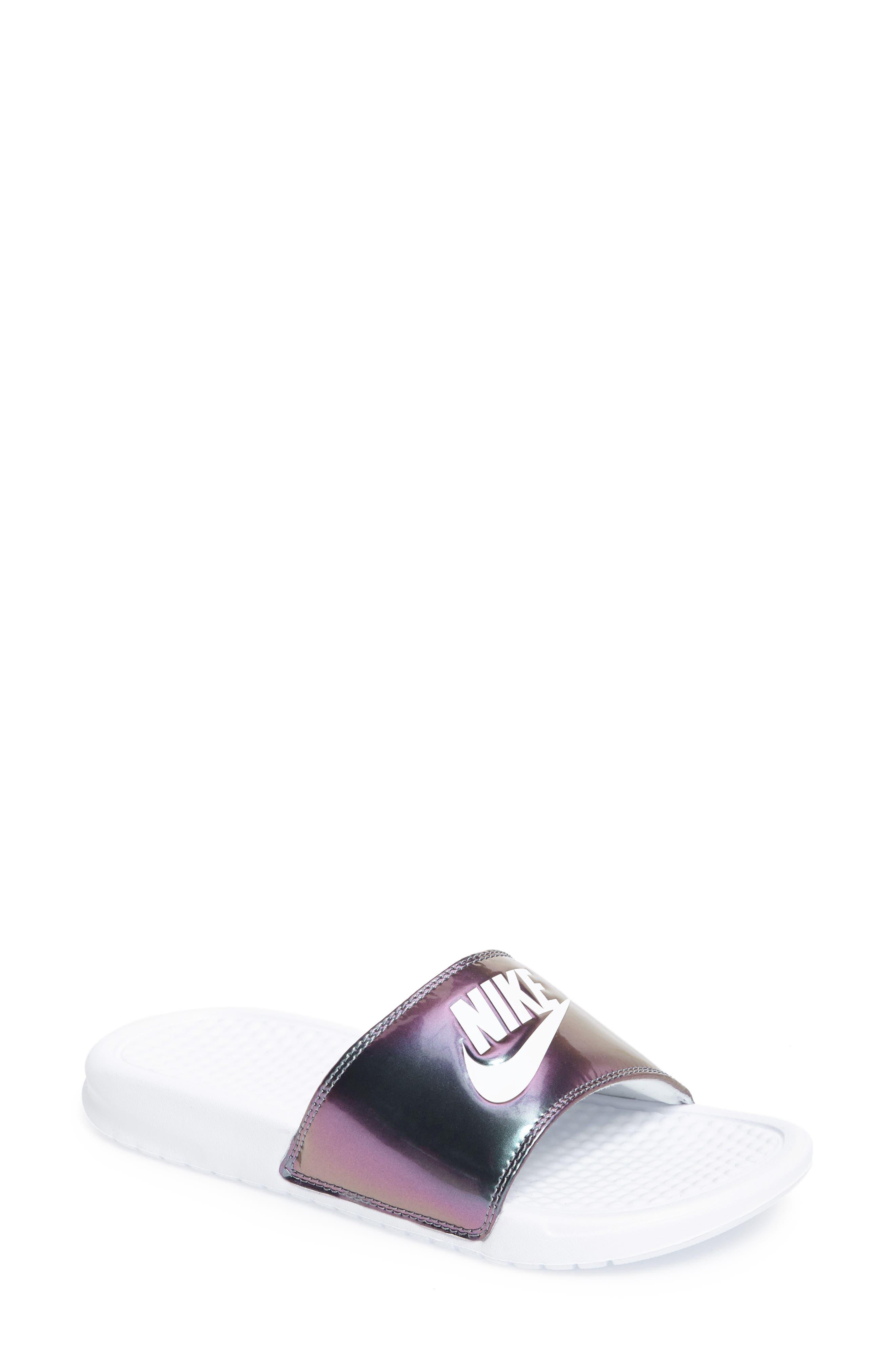 'Benassi - Just Do It' Print Sandal,                             Main thumbnail 1, color,                             White/ White