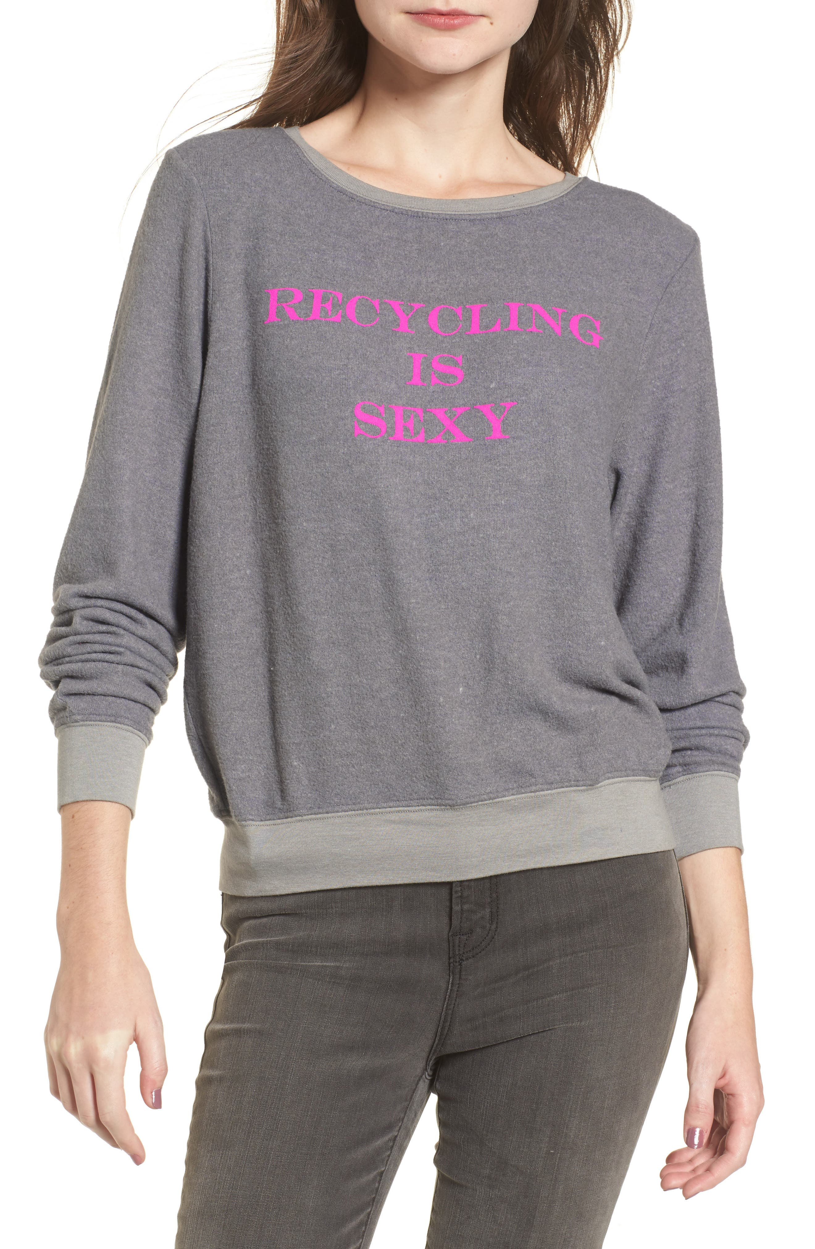 Recycling is Sexy Sweatshirt,                             Main thumbnail 1, color,                             Vintage Grey