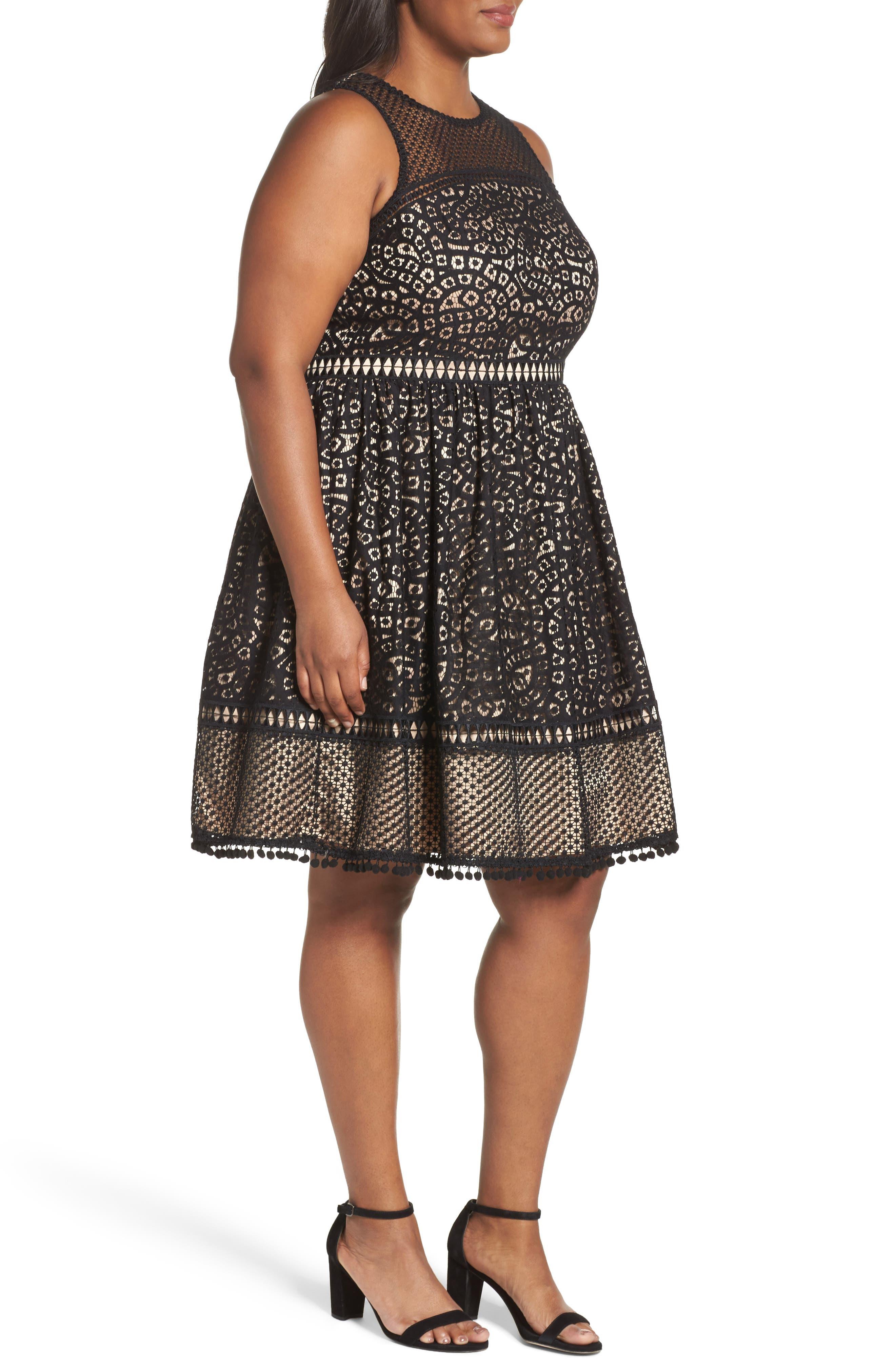 Sleeveless Lace Trim Fit & Flare Dress,                             Alternate thumbnail 4, color,                             Black