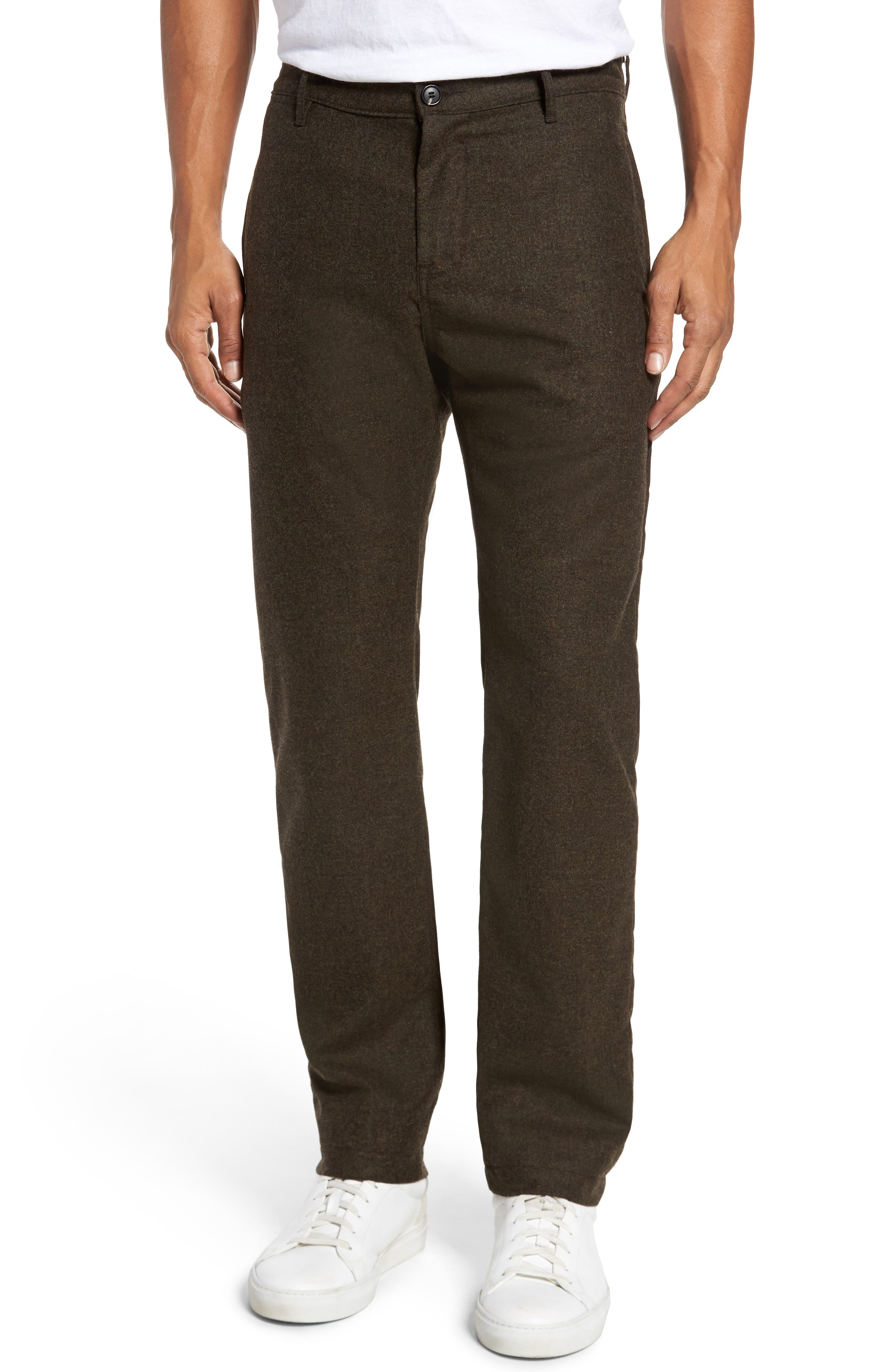 Wool & Cashmere Slim Straight Leg Chinos,                             Main thumbnail 1, color,                             Military