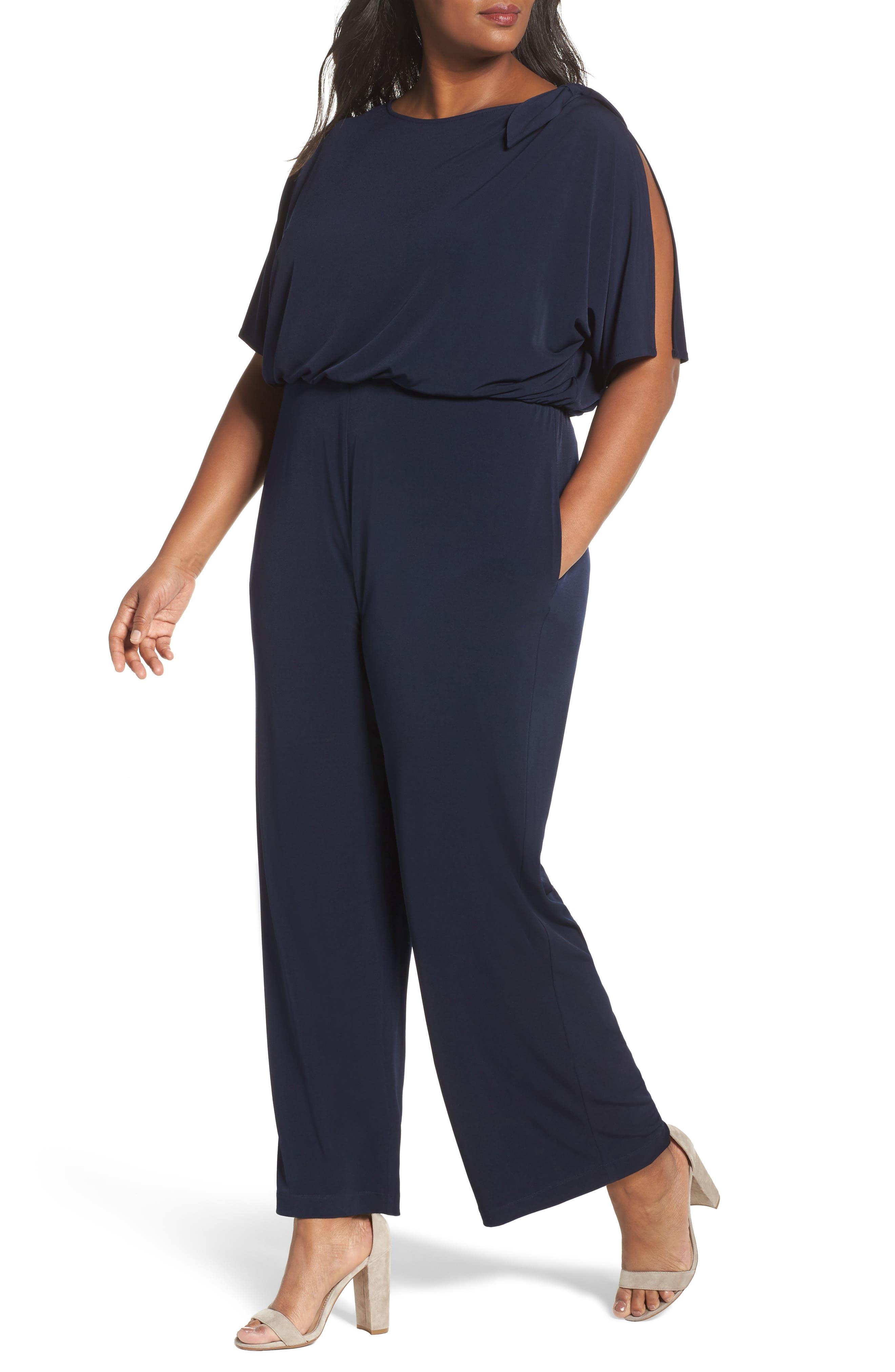 Main Image - Vince Camuto Crepe Split Sleeve Jumpsuit (Plus Size)