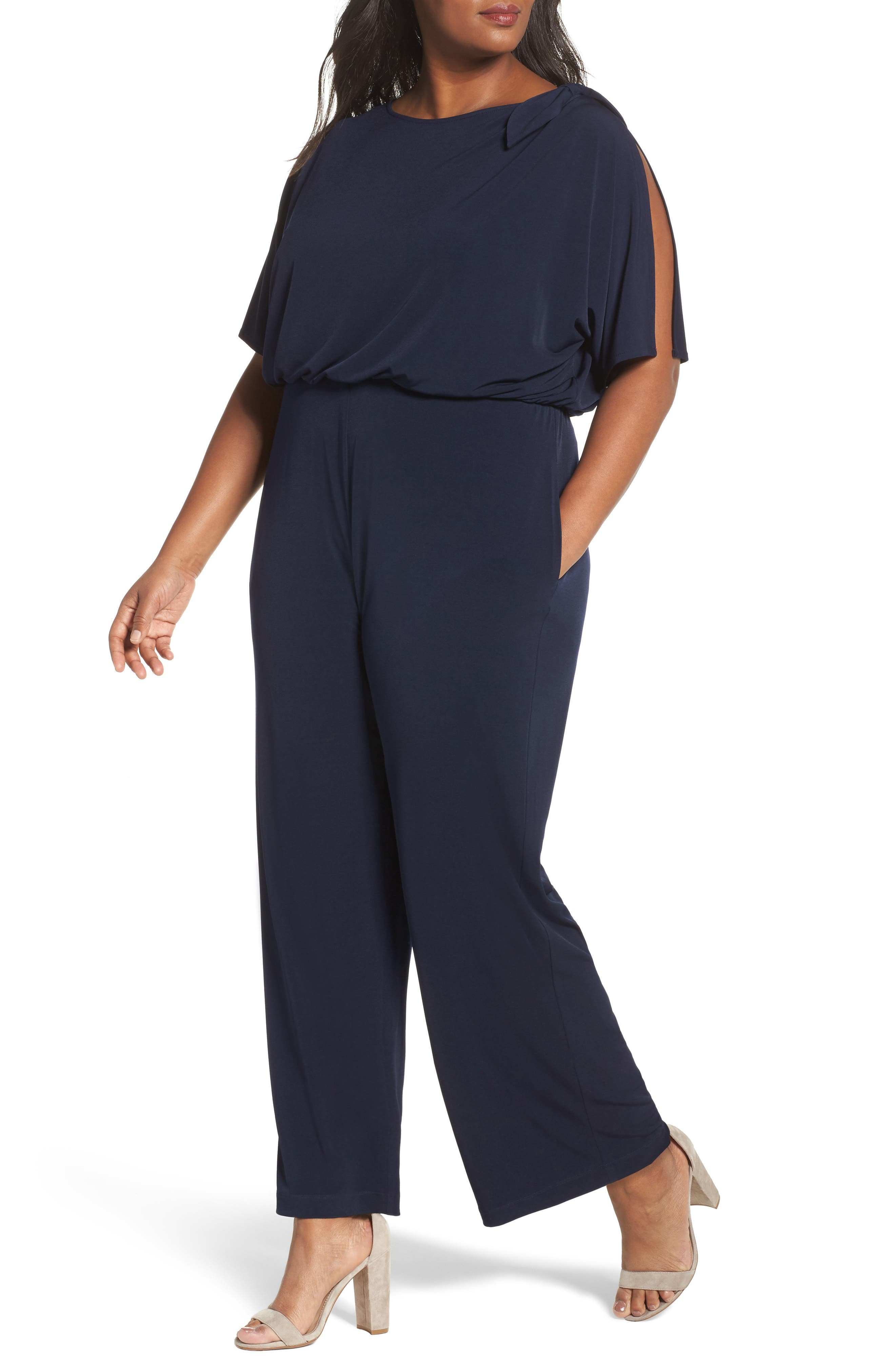 Vince Camuto Crepe Split Sleeve Jumpsuit (Plus Size)