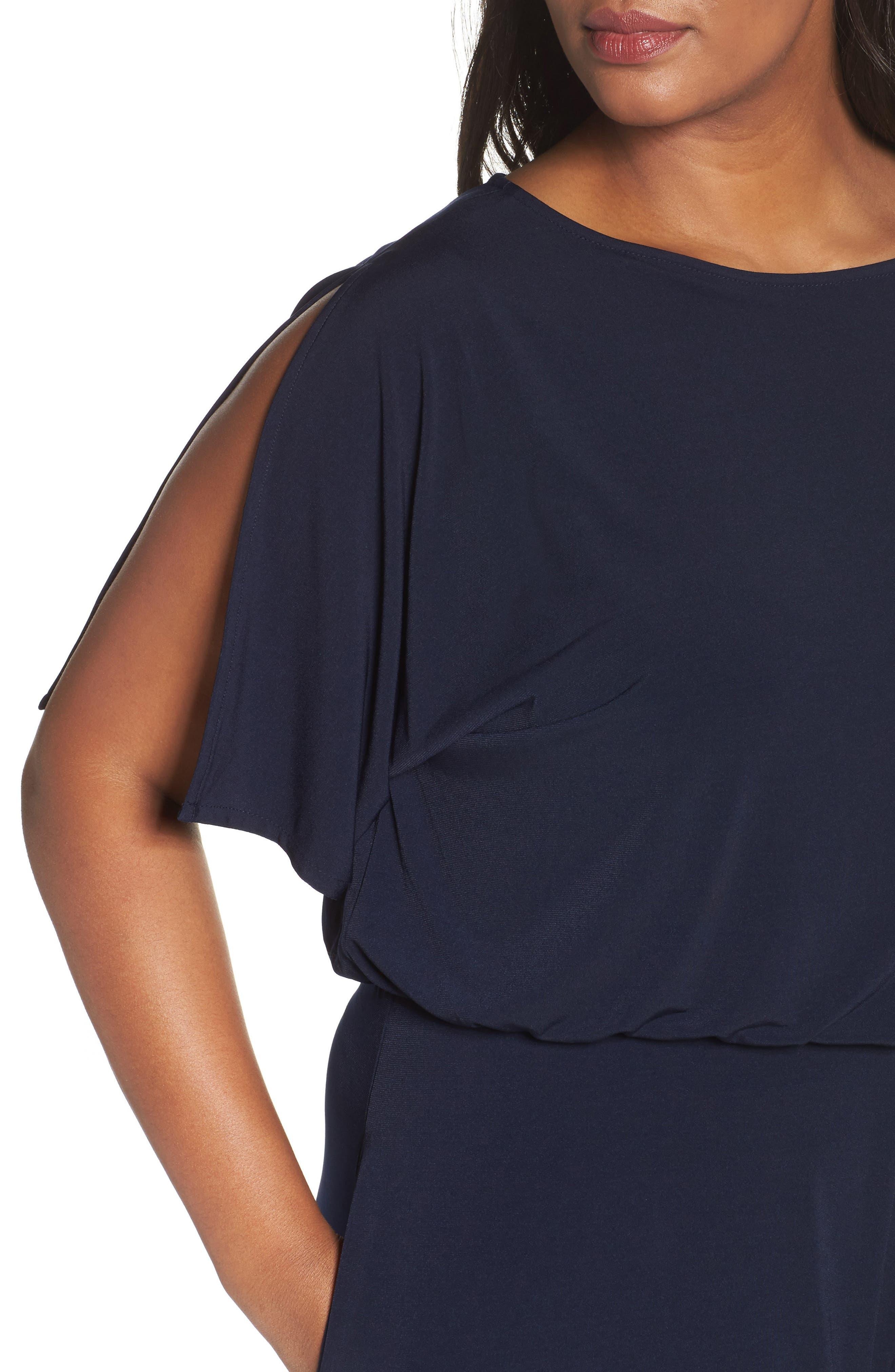 Alternate Image 4  - Vince Camuto Crepe Split Sleeve Jumpsuit (Plus Size)
