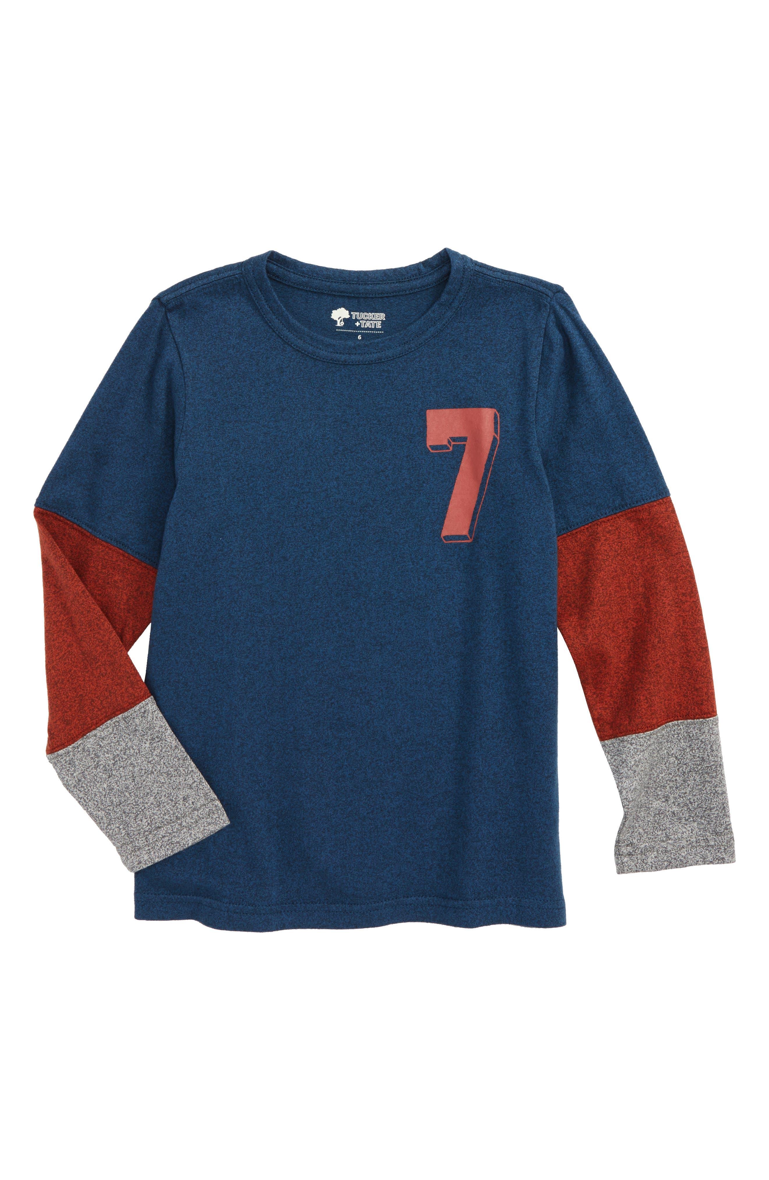 Pieced Sleeve T-Shirt,                         Main,                         color, Navy Denim Seven