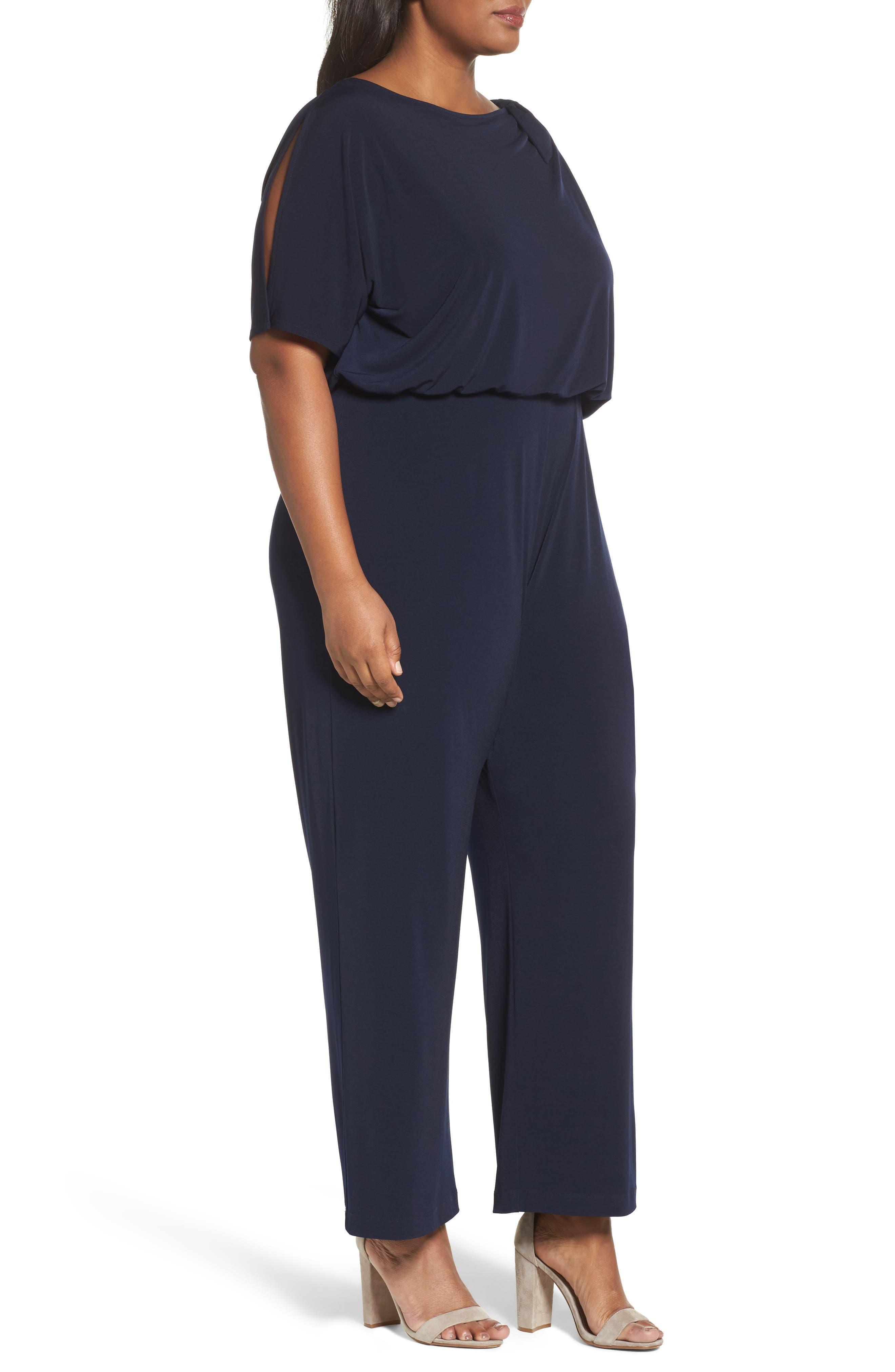 Alternate Image 3  - Vince Camuto Crepe Split Sleeve Jumpsuit (Plus Size)