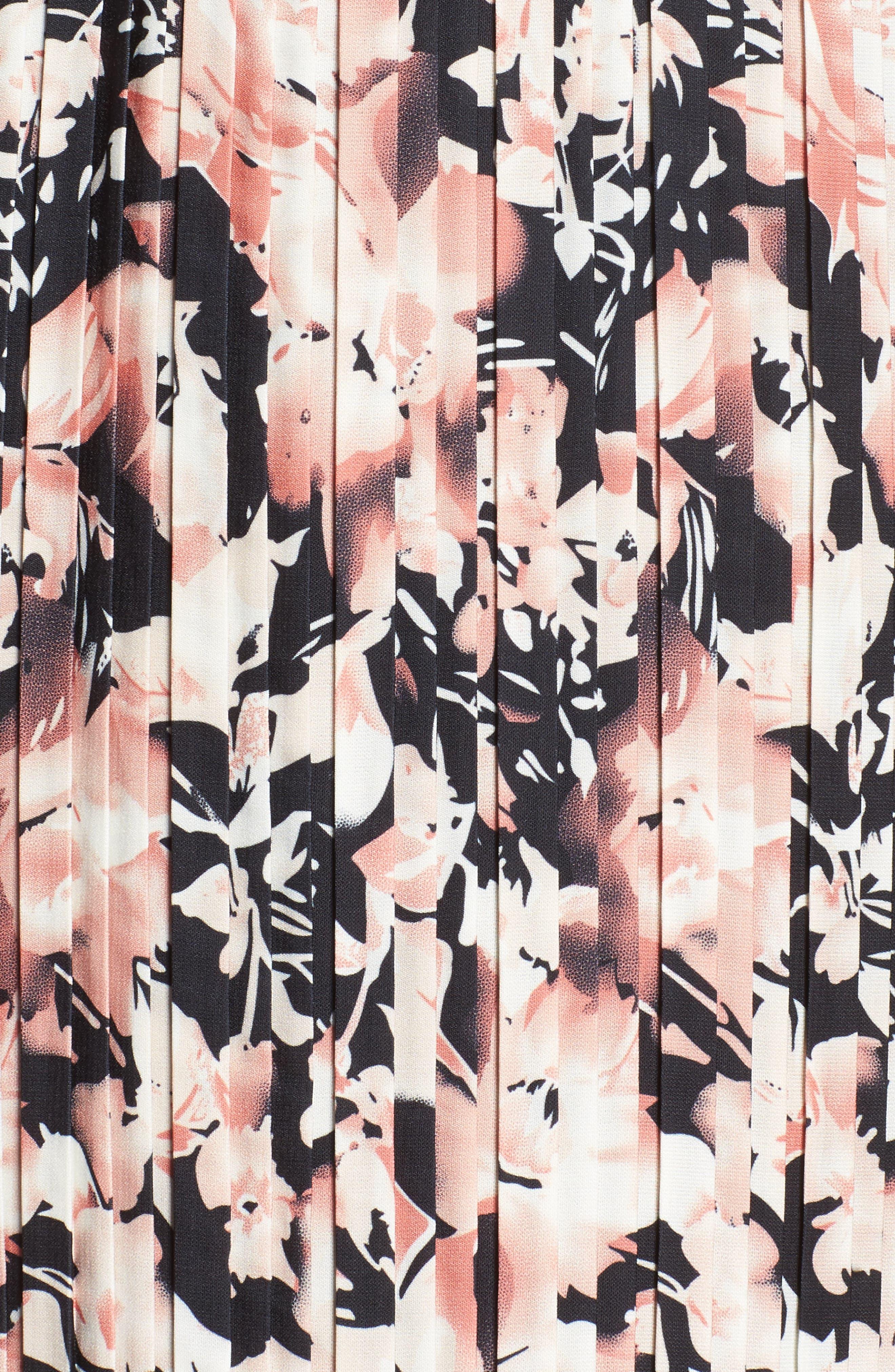 Alternate Image 5  - Foxiedox Jasmine Lace Trim Pleated Floral Midi Dress