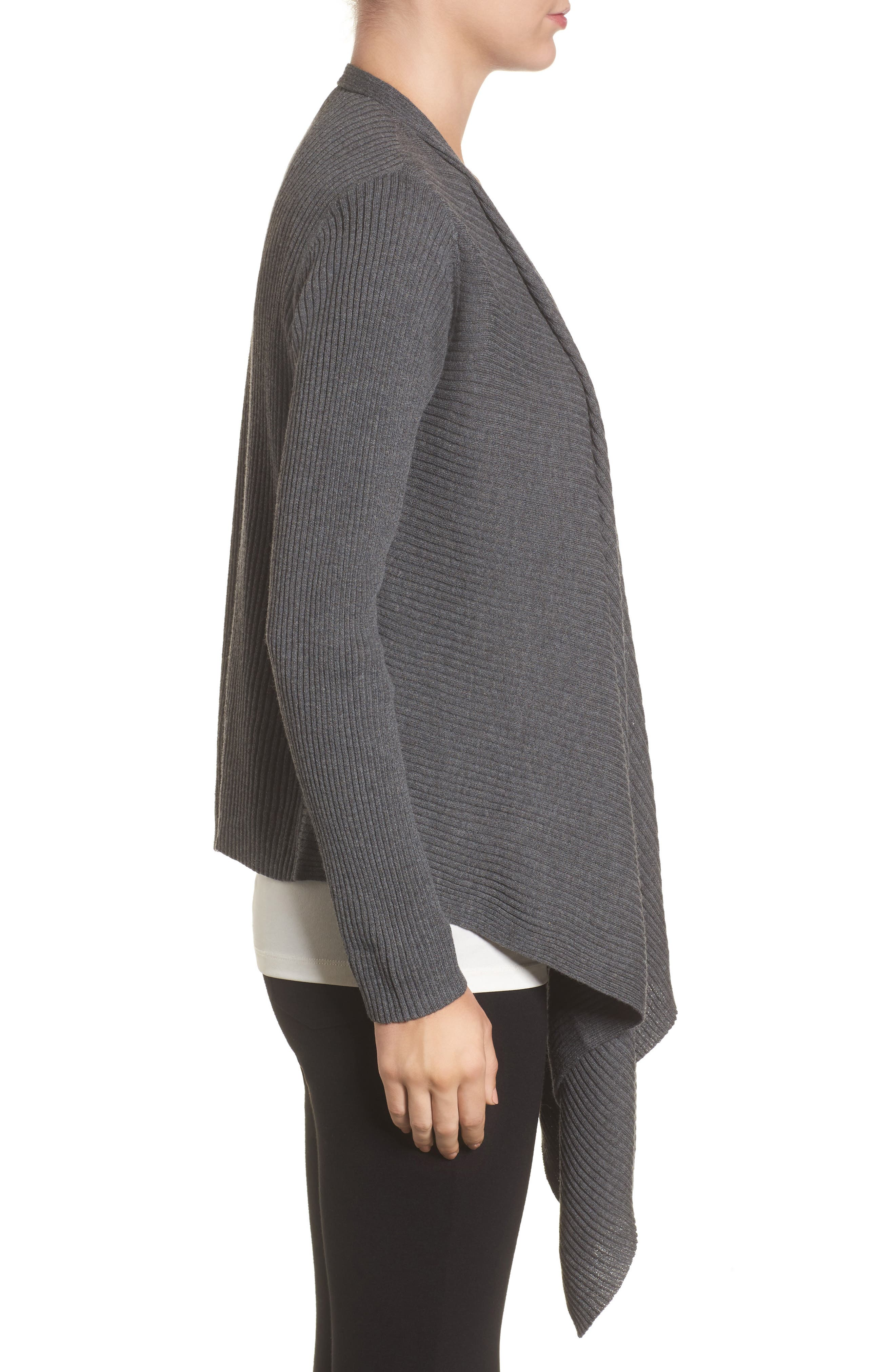 Alternate Image 3  - Eileen Fisher Drape Front Wool Cardigan