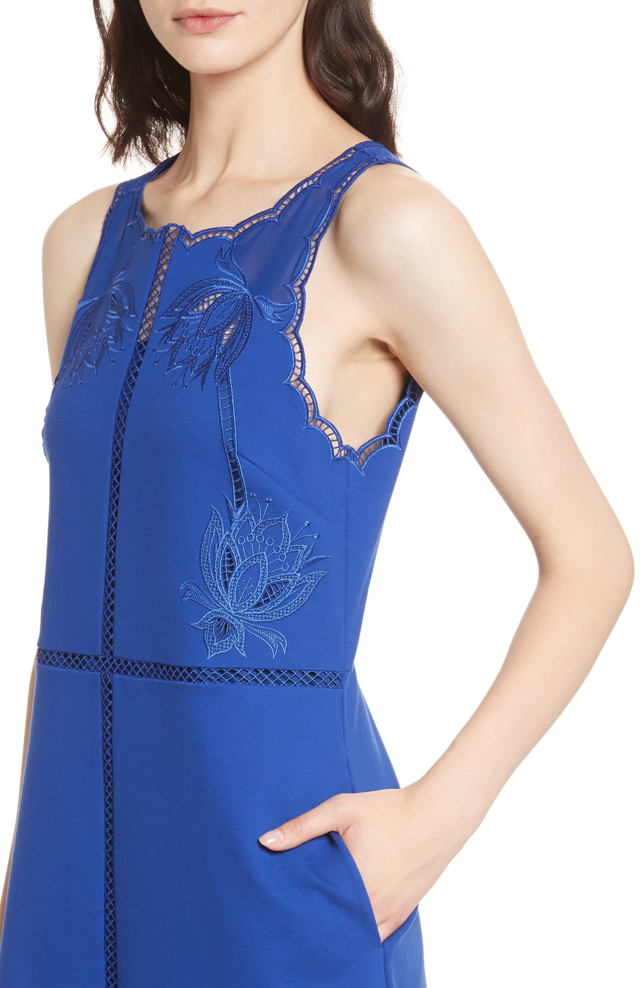 Codi Embroidered Scallop A-Line Dress,                             Alternate thumbnail 4, color,                             Mid Blue