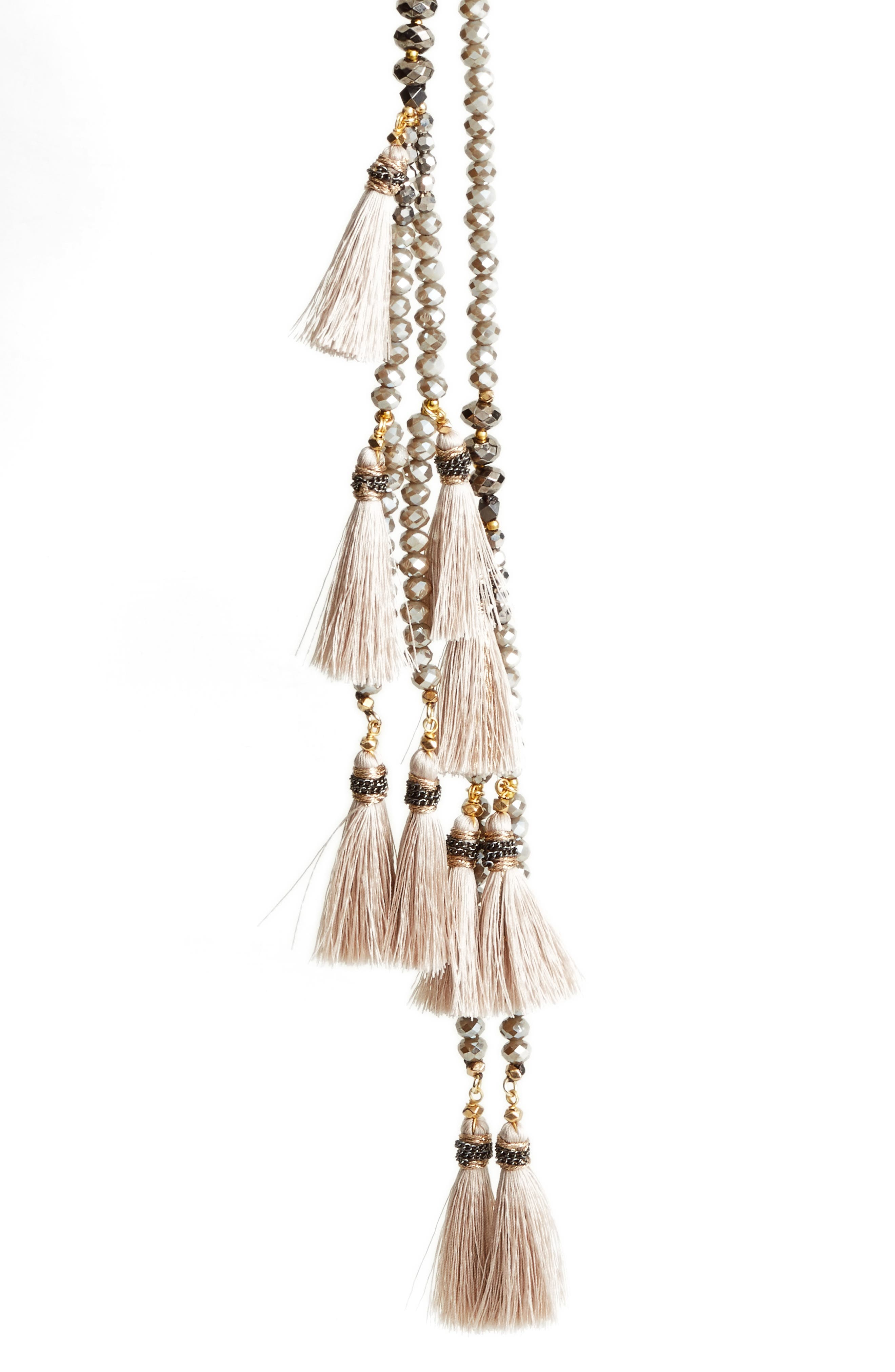 Tassel Lariat Necklace,                             Alternate thumbnail 2, color,                             Nude