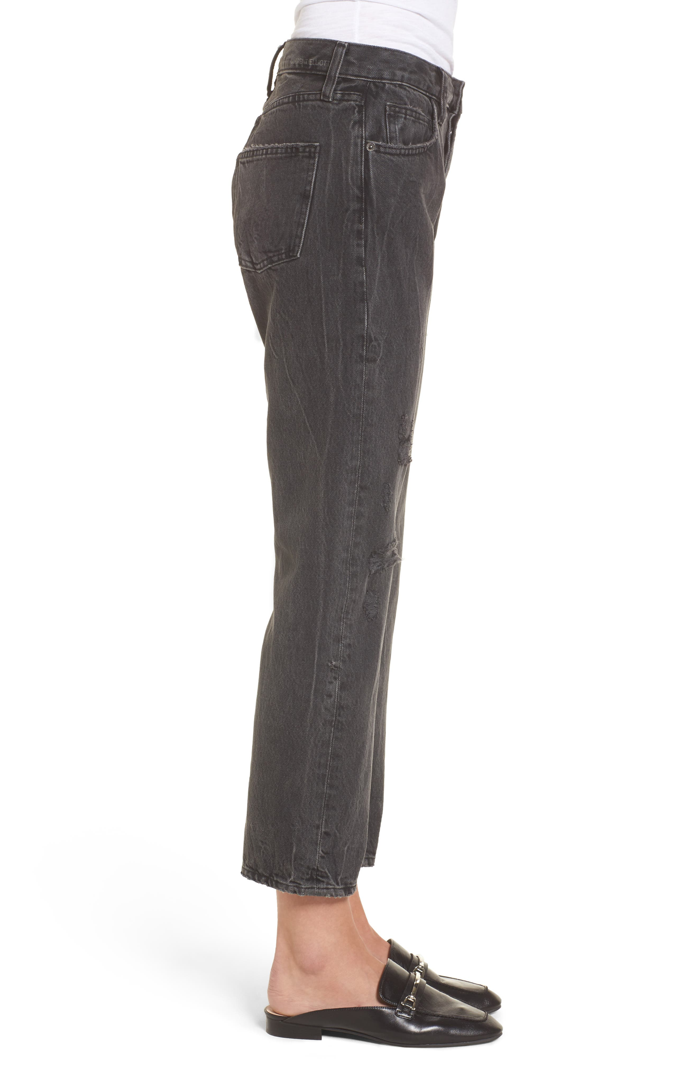 Alternate Image 3  - Current/Elliott The Original Straight Leg Crop Jeans (Valo Destroy)