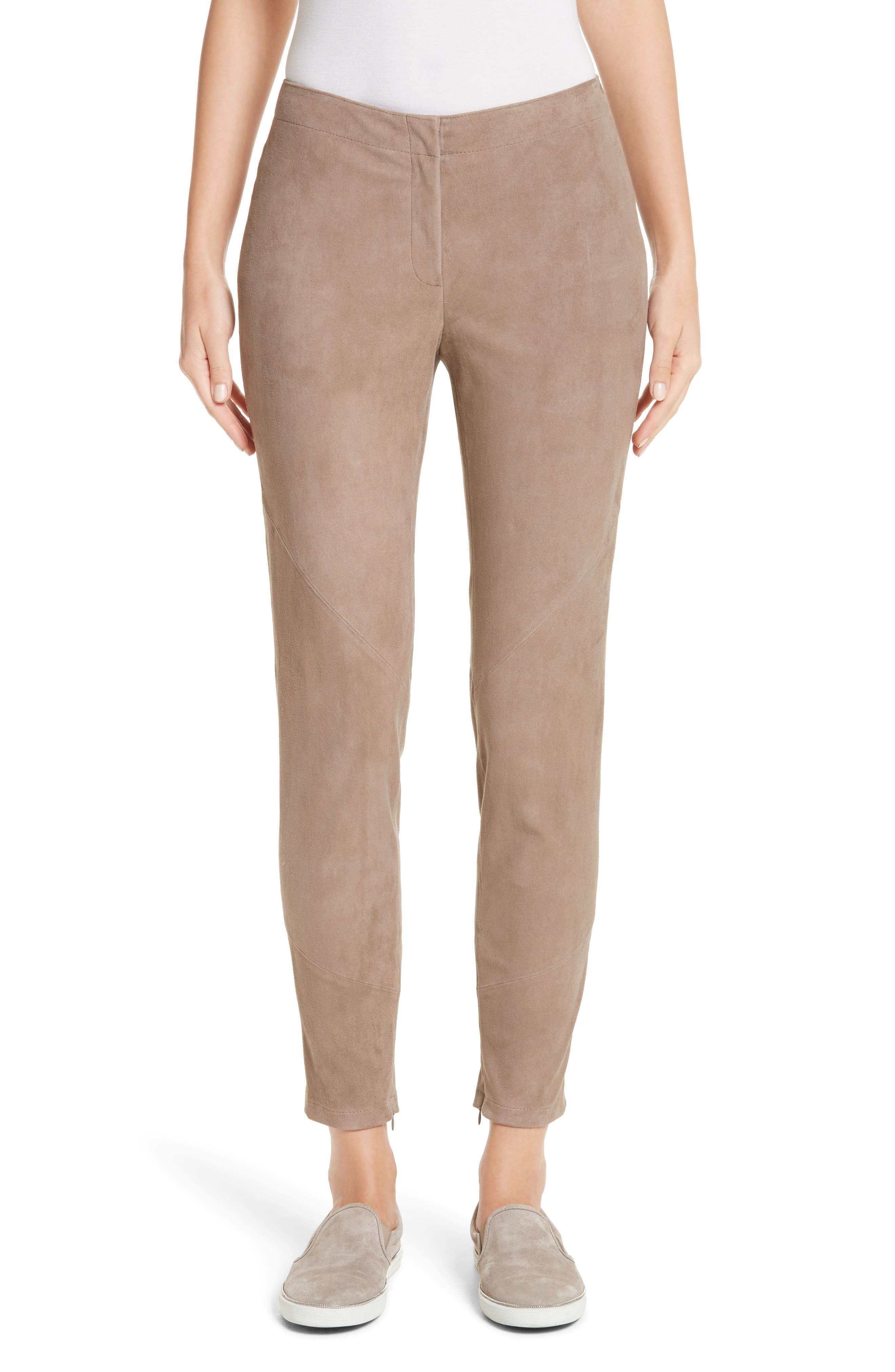 Slim Suede Pants,                         Main,                         color, Portobello
