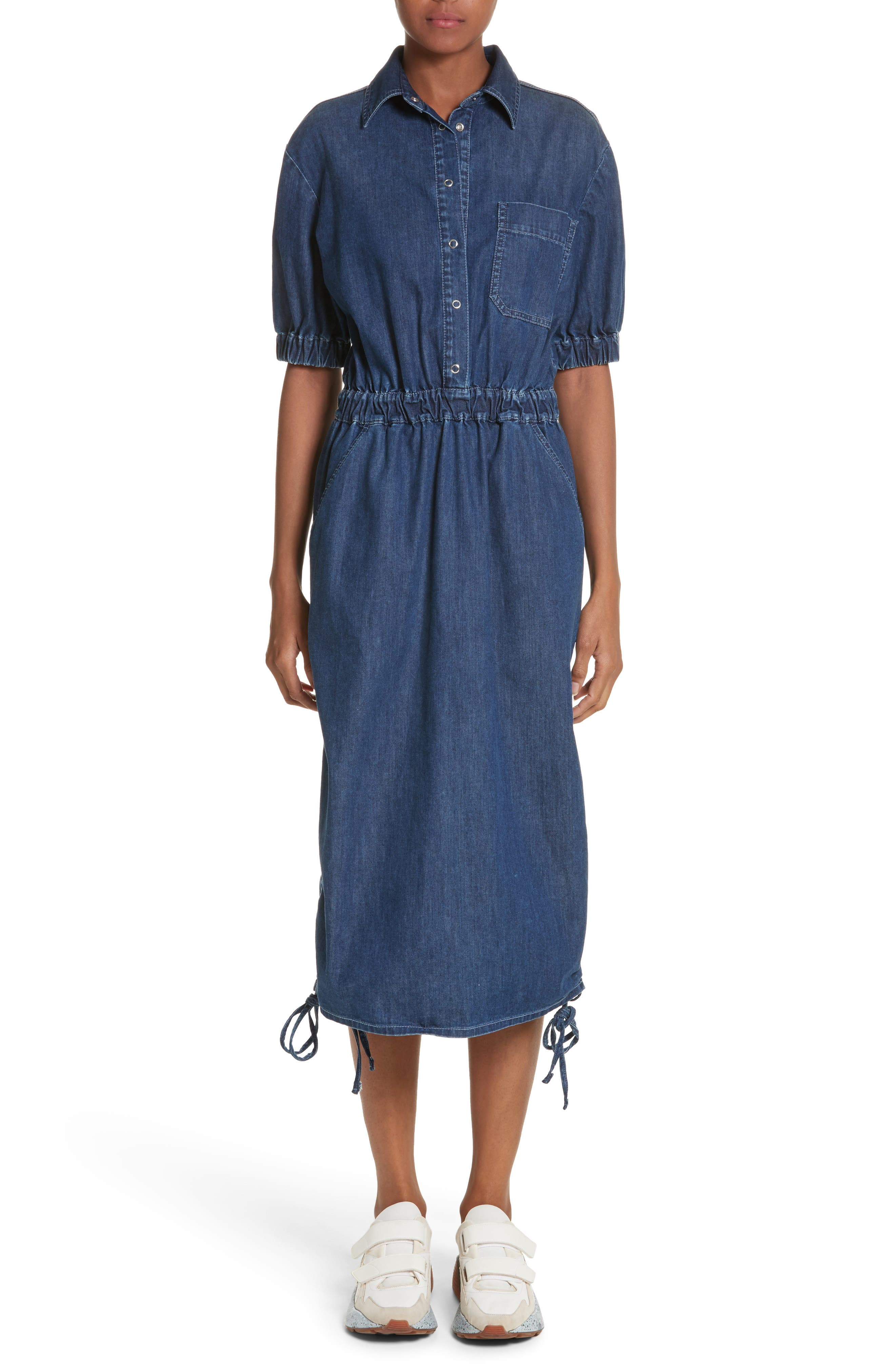 Ruched Denim Midi Dress,                             Main thumbnail 1, color,                             Dark Blue