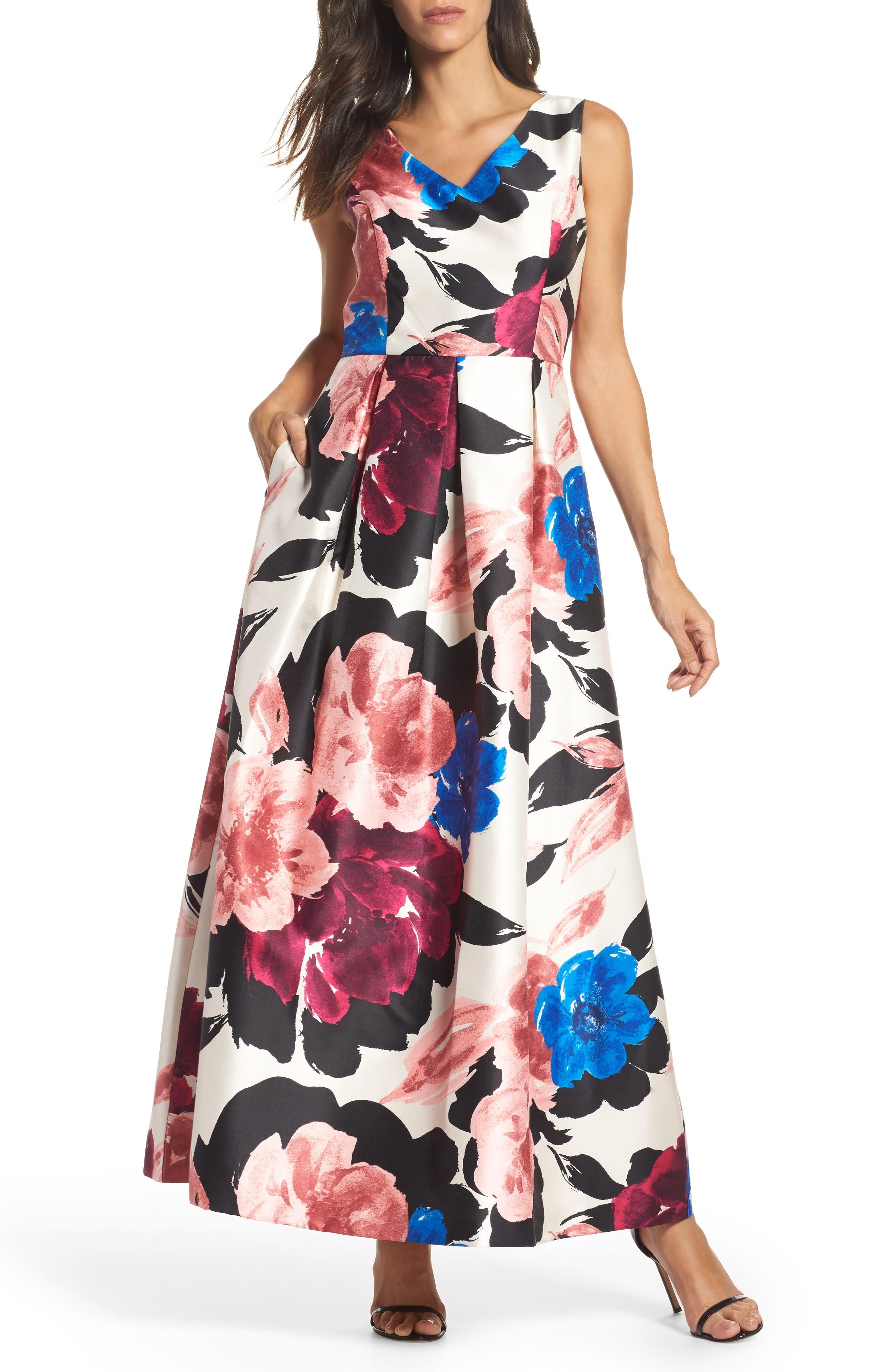Arcadia Floral Print Ballgown,                         Main,                         color, Multi