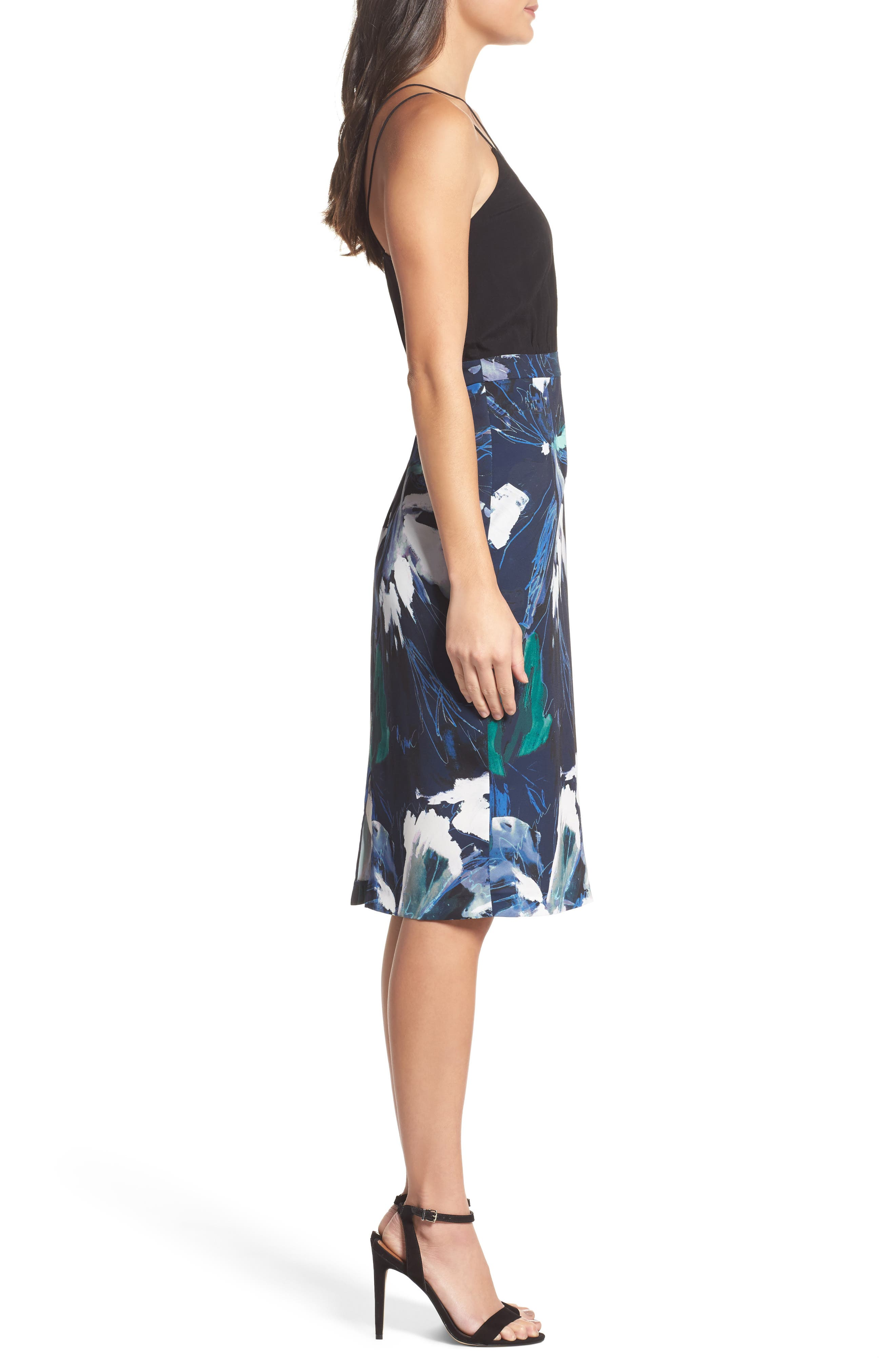 Strappy Print Dress,                             Alternate thumbnail 3, color,                             Navy Sketch Floral