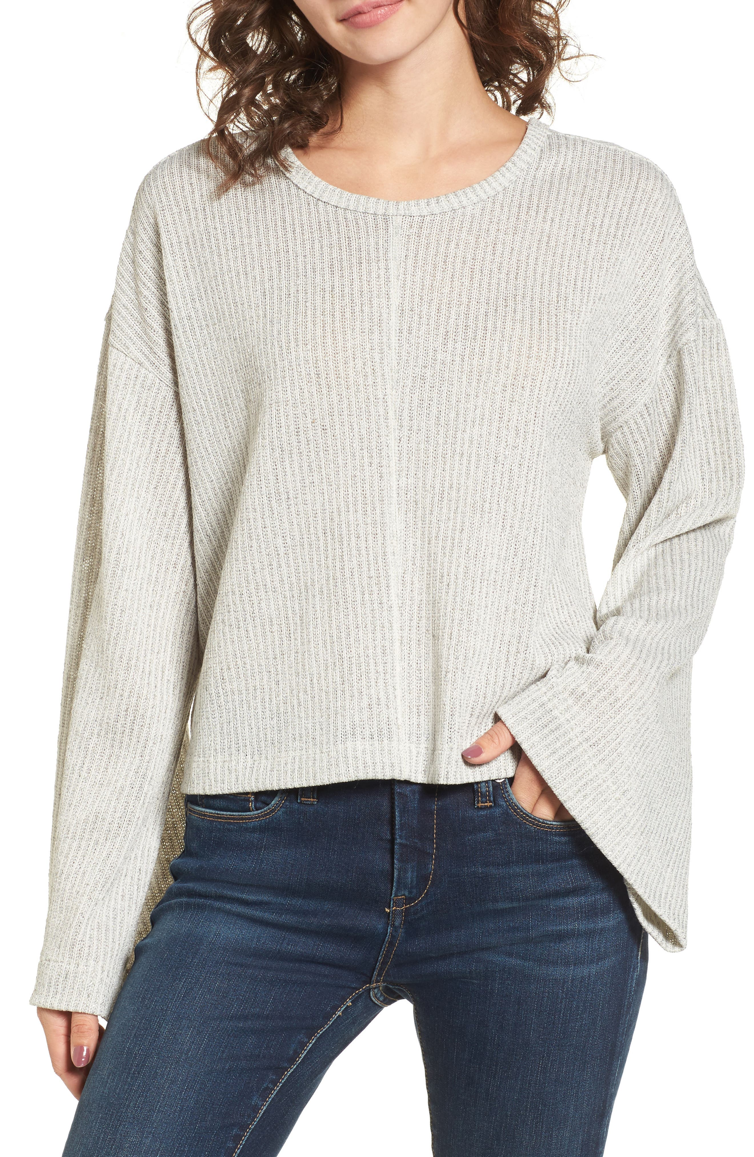 Tie Back Sweater,                             Main thumbnail 1, color,                             Grey