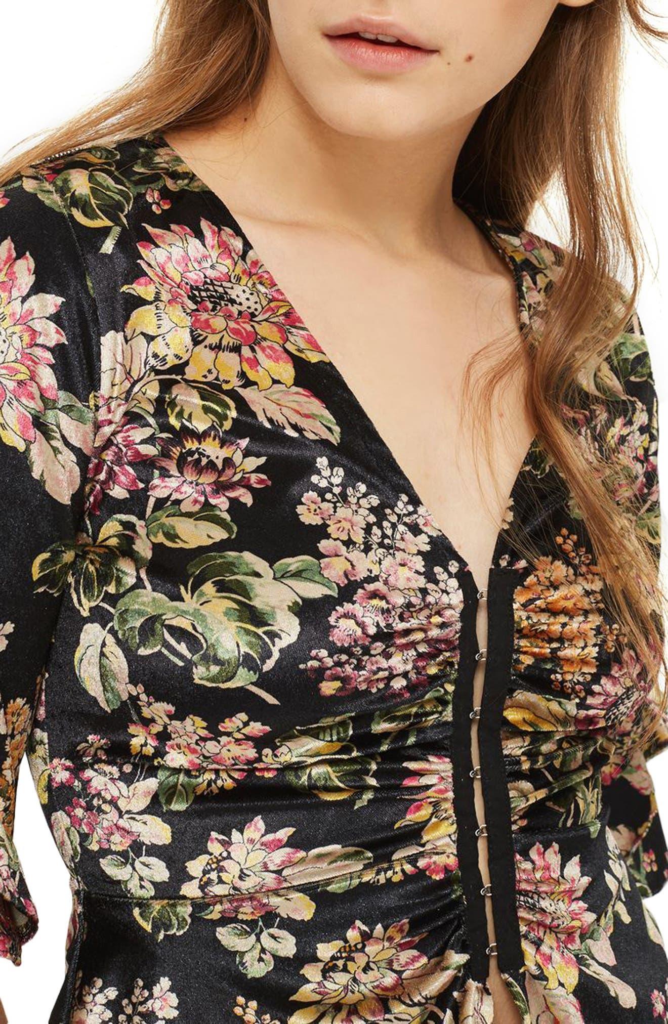 Floral Print Velvet Hook & Eye Top,                             Alternate thumbnail 4, color,                             Black Multi