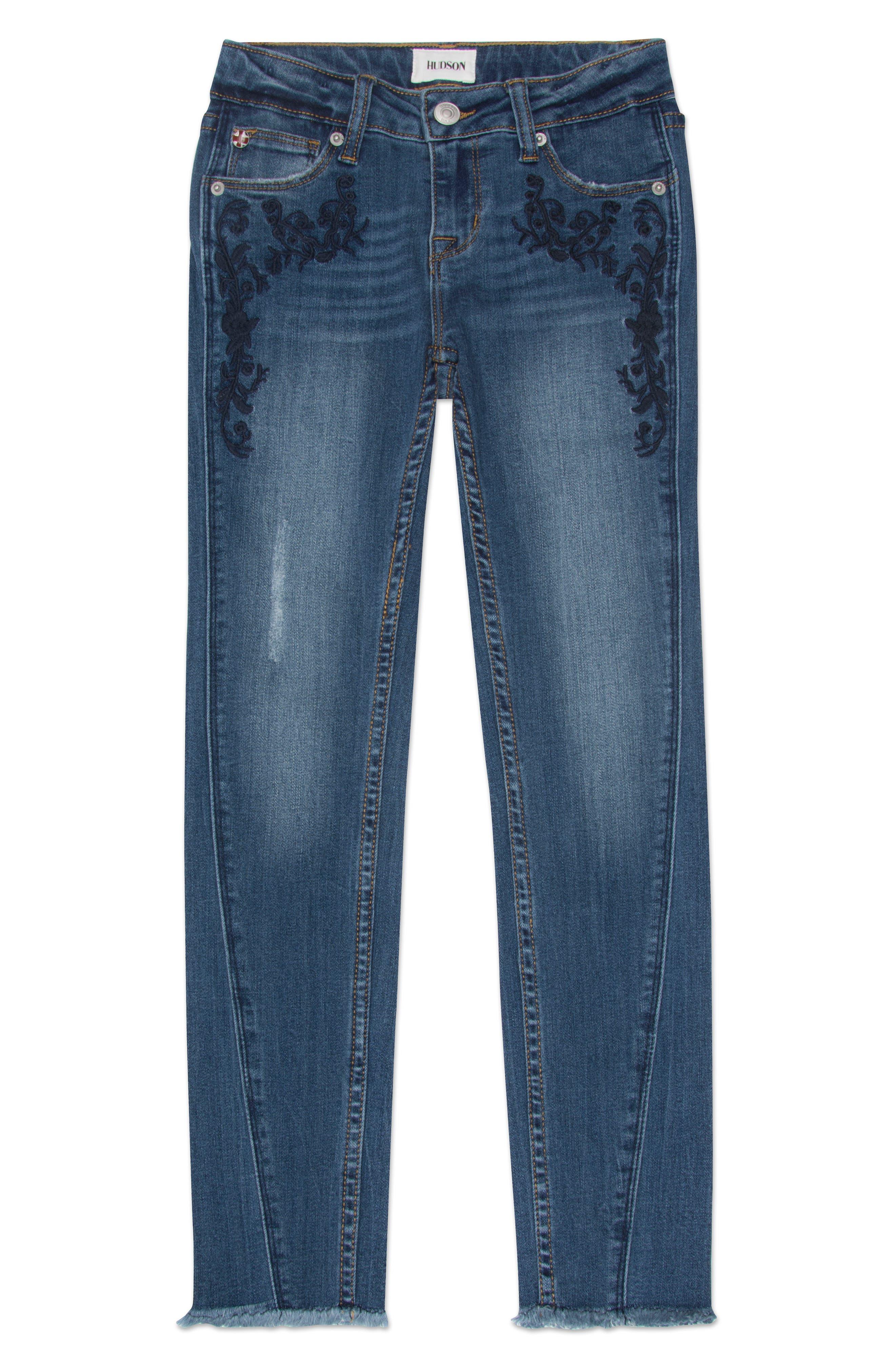 Hudson Kids Riva Embroidered Skinny Jeans (Big Girls)