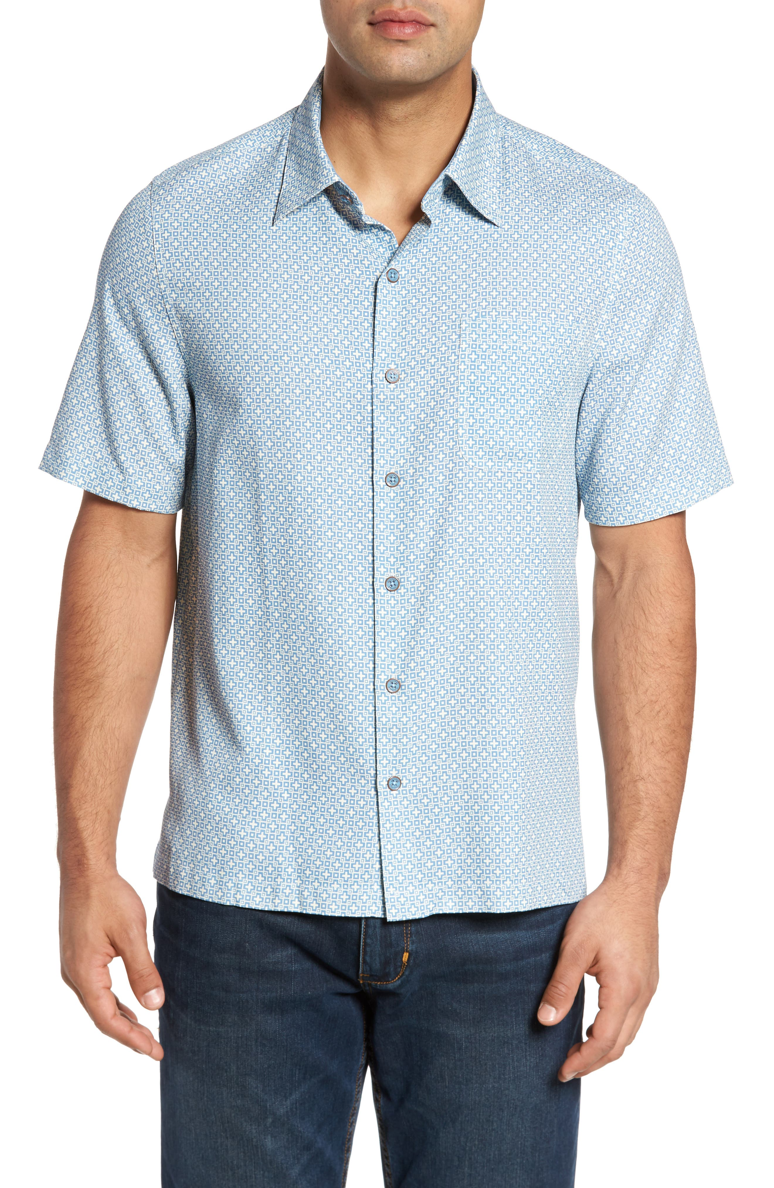 Nat Nast Everest Print Silk Blend Sport Shirt